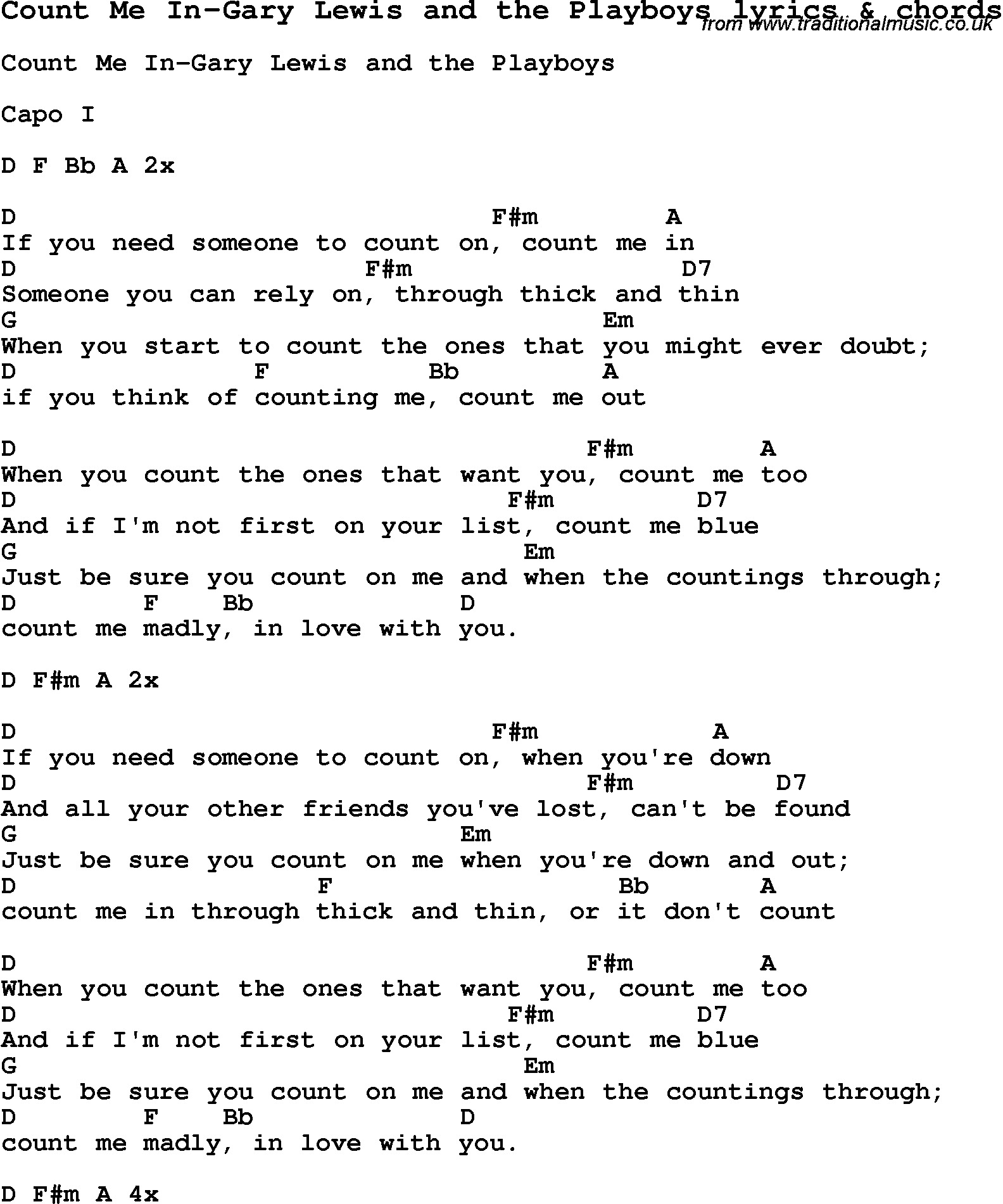 Love Song Lyrics for:Count Me In-Gary Lewis and the Playboys with chords.