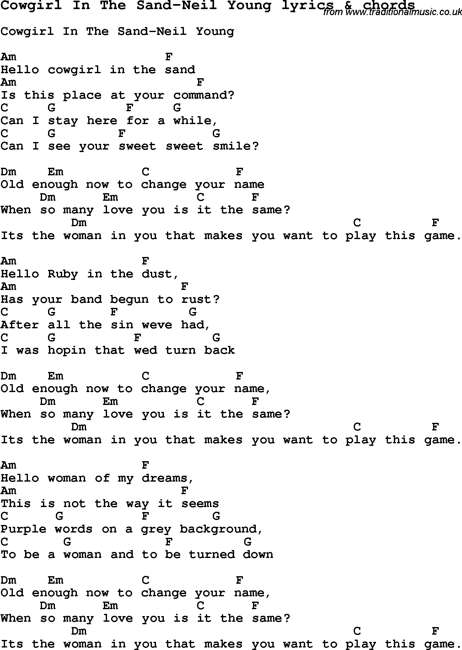 Love Song Lyrics for:Cowgirl In The Sand-Neil Young with chords.