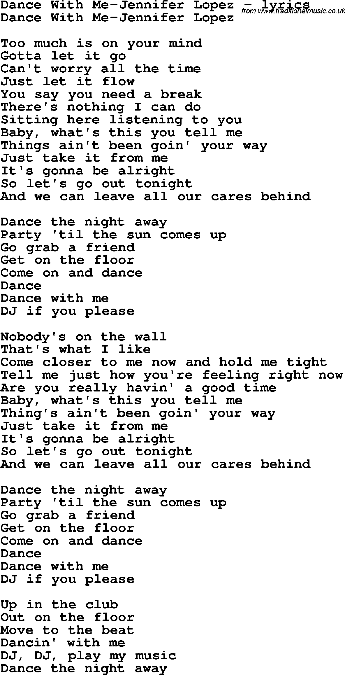 Love Song Lyrics For: Dance With Me Jennifer Lopez