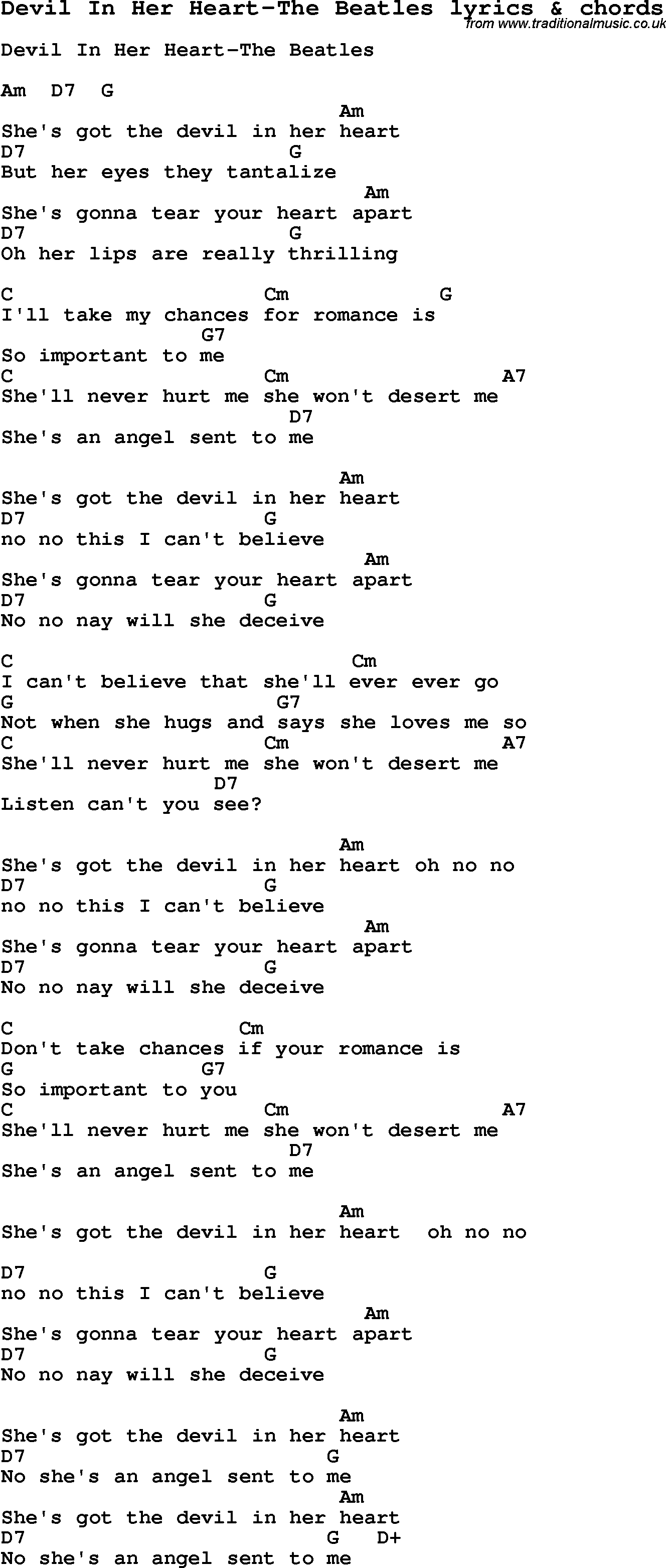 Love Song Lyrics for:Devil In Her Heart-The Beatles with chords
