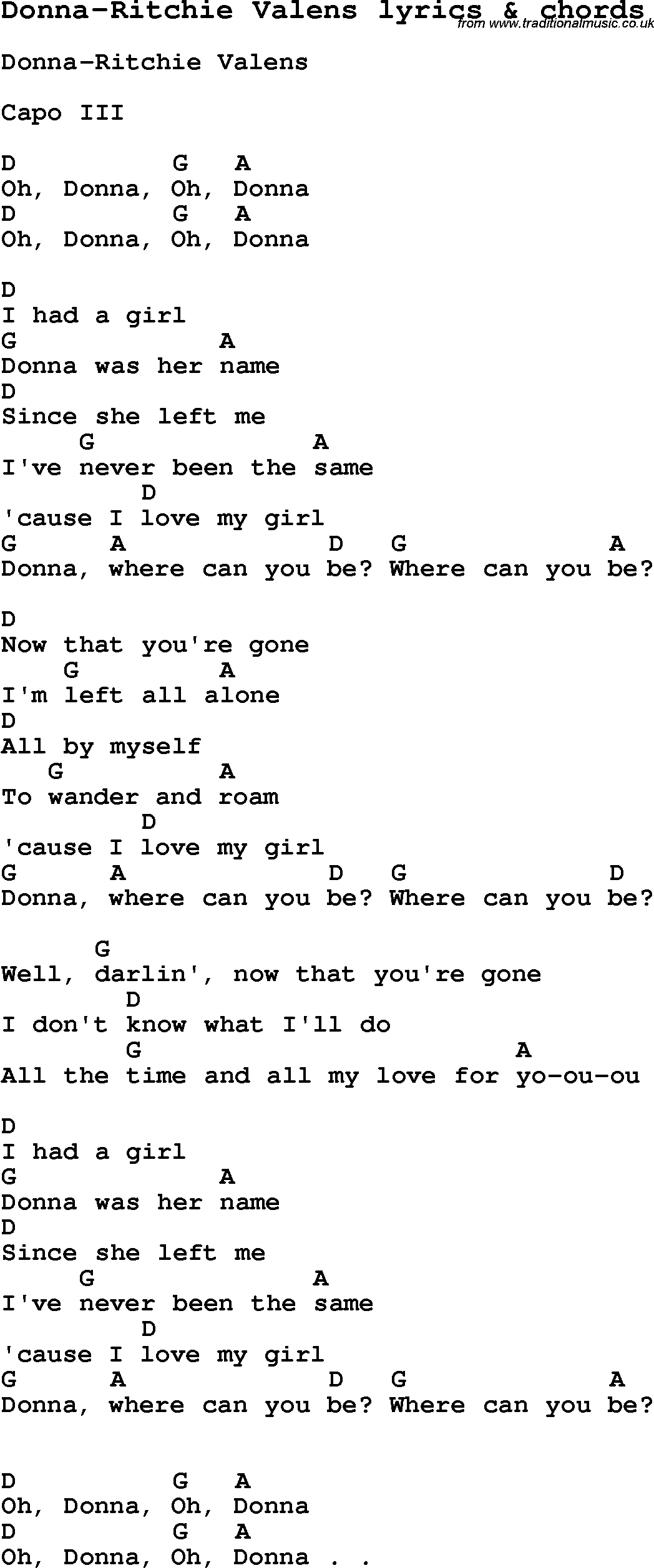 Love Song Lyrics Fordonna Ritchie Valens With Chords