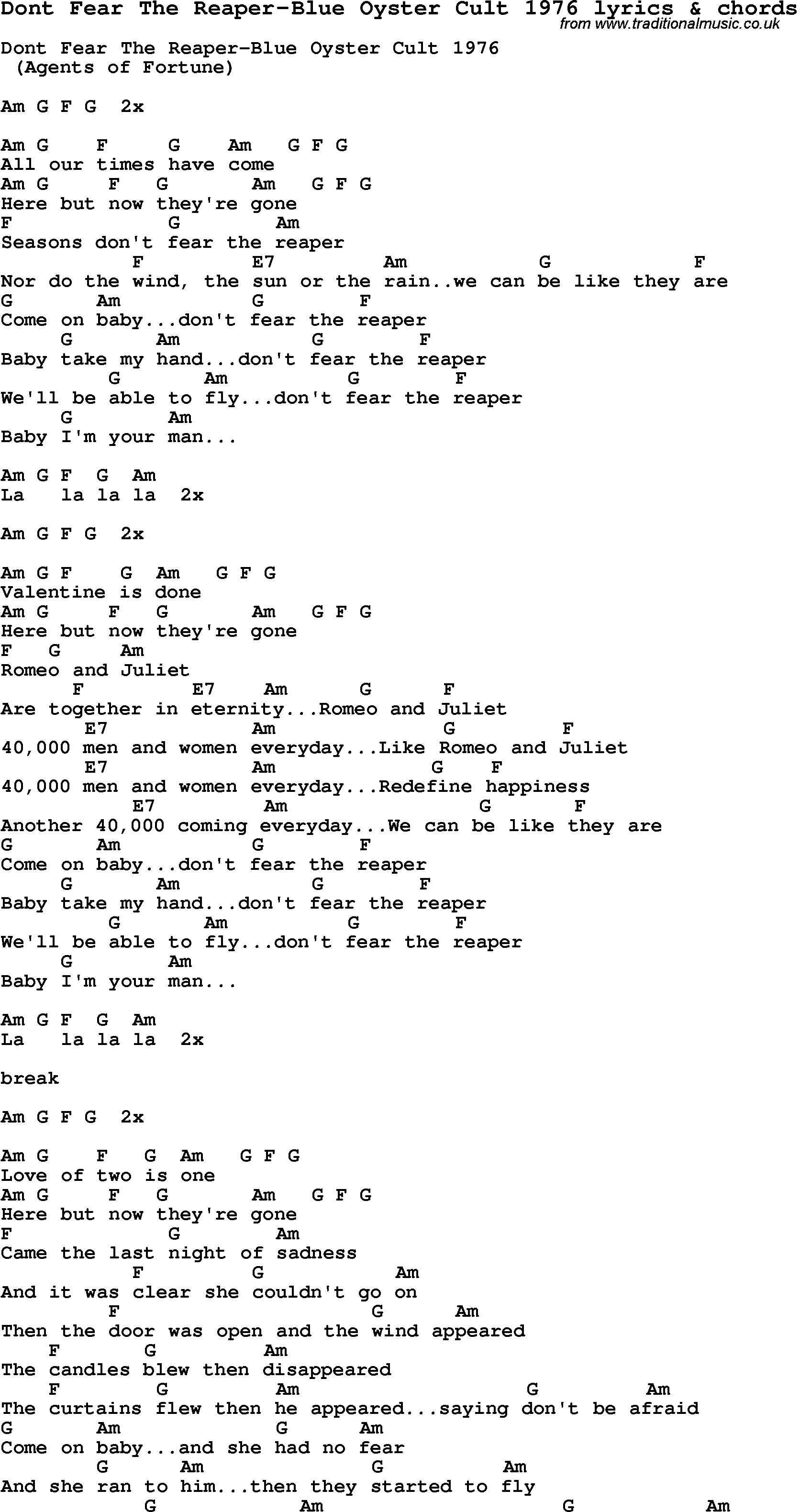 Love Song Lyrics Fordont Fear The Reaper Blue Oyster Cult 1976 With