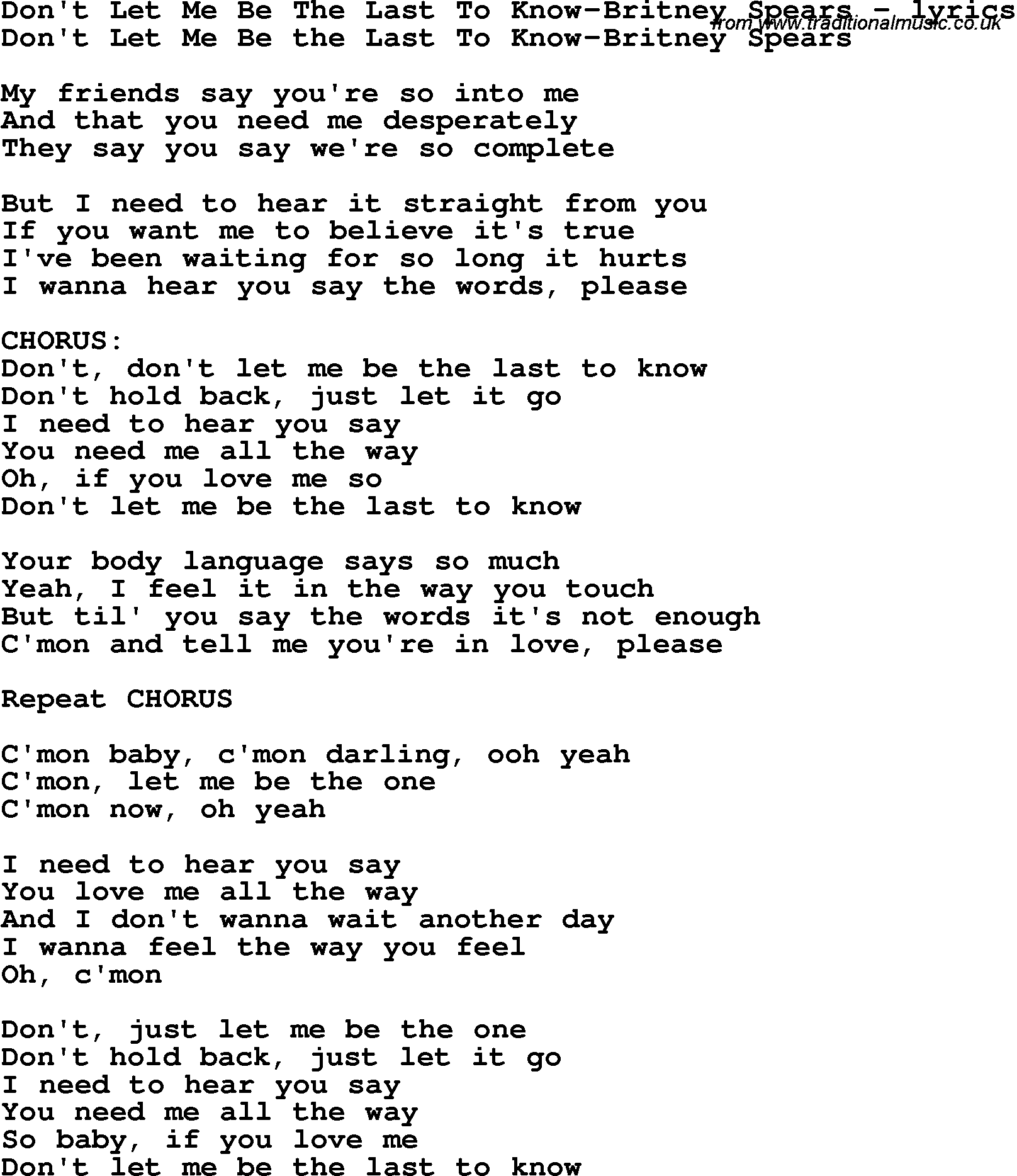 lyrics don t let me be the last: