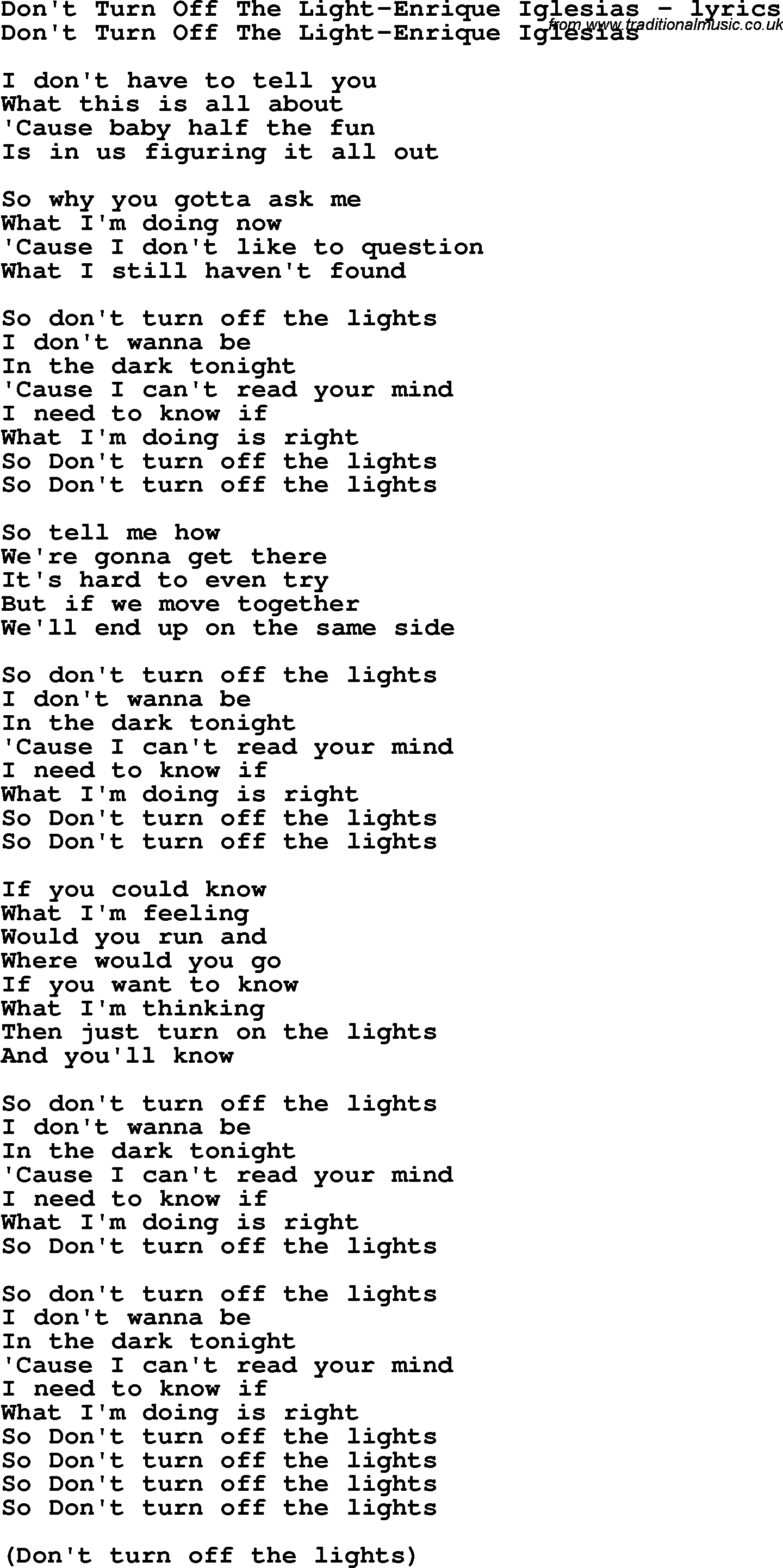 Amazing Lyrics Turn The Lights Off Carry Me Home Ideas - Home ...