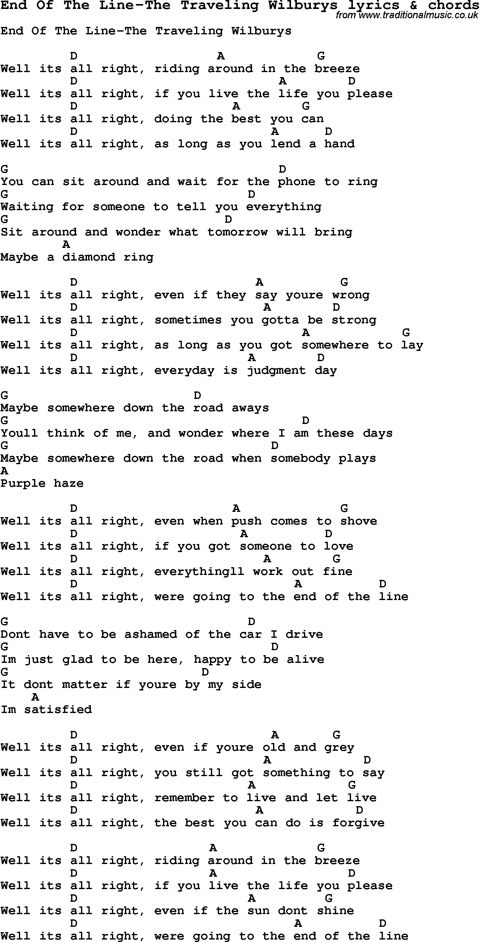 traveling wilburys line lyrics