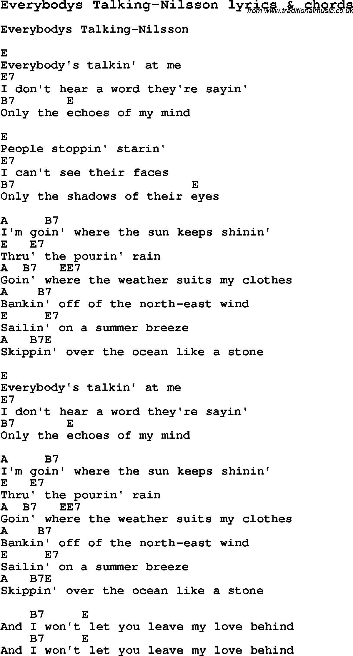 Love song lyrics foreverybodys talking nilsson with chords love song lyrics for everybodys talking nilsson with chords for ukulele guitar banjo hexwebz Images