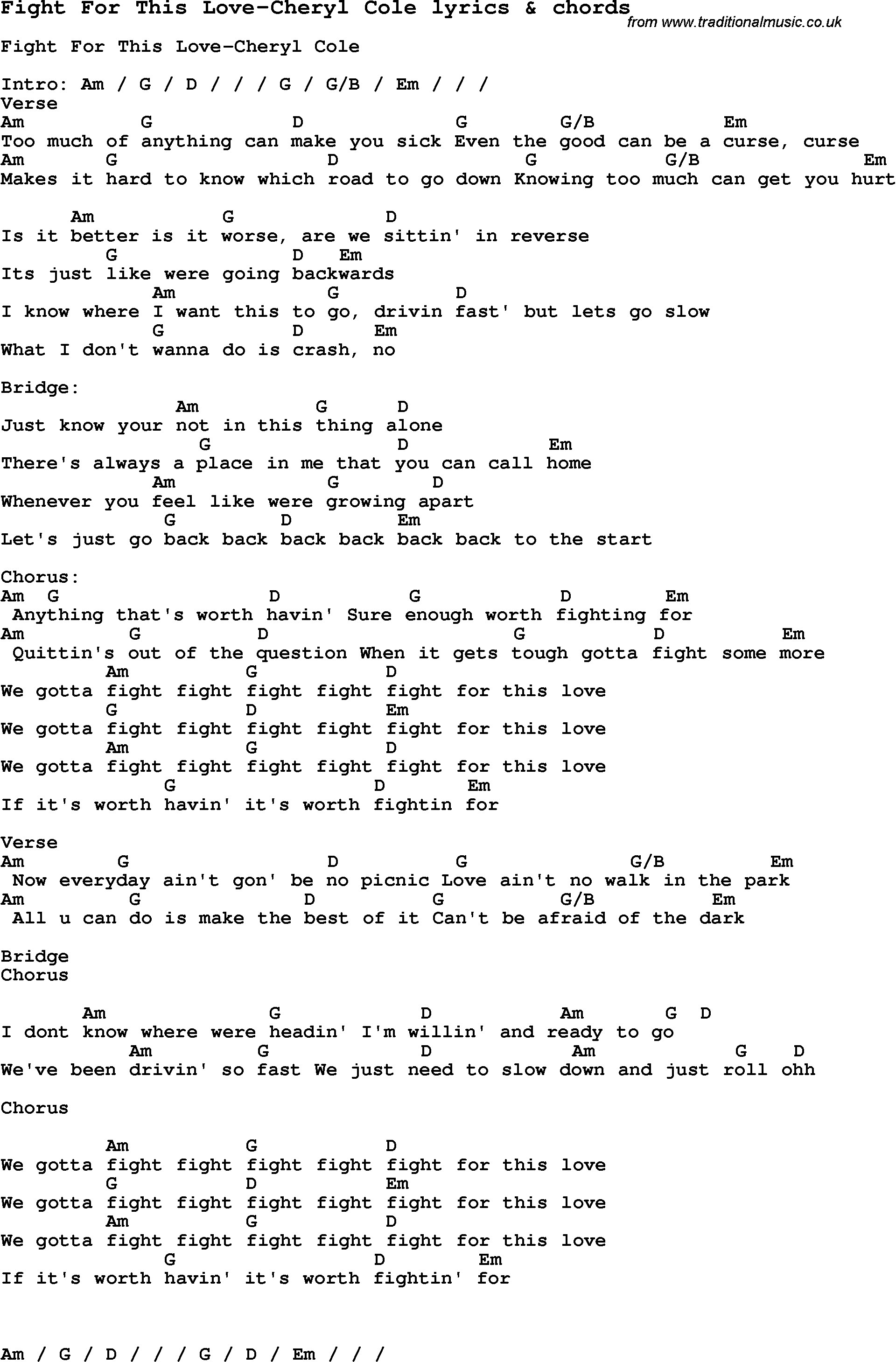 Love Song Lyrics for: Fight For This Love-Cheryl Cole with chords for ...