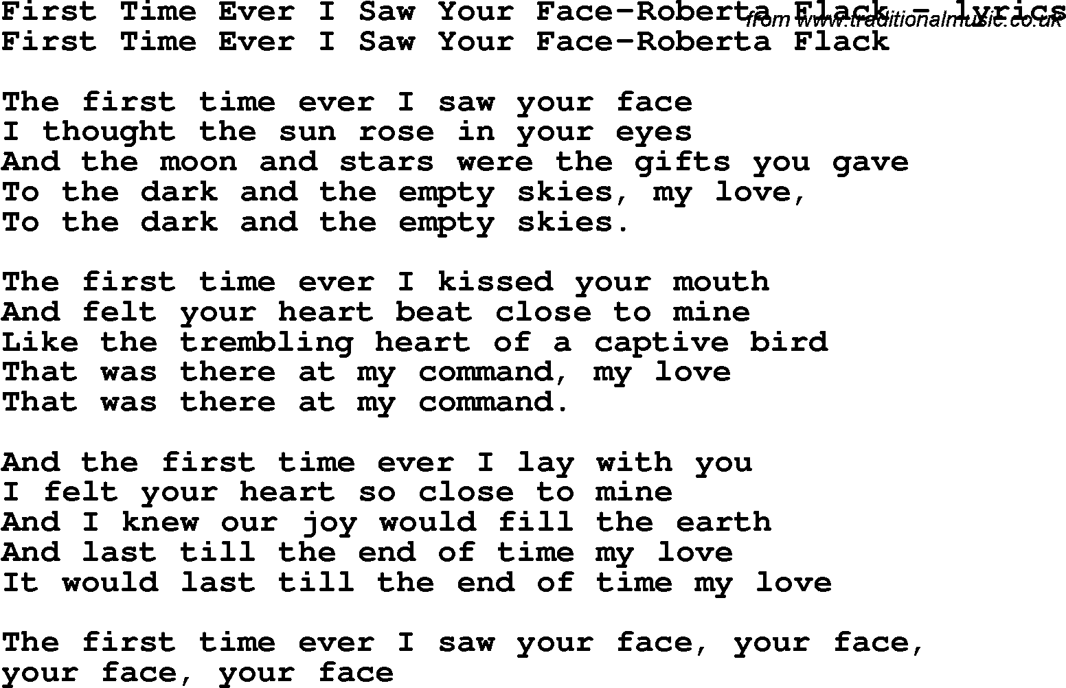 meet you for the first time lyrics