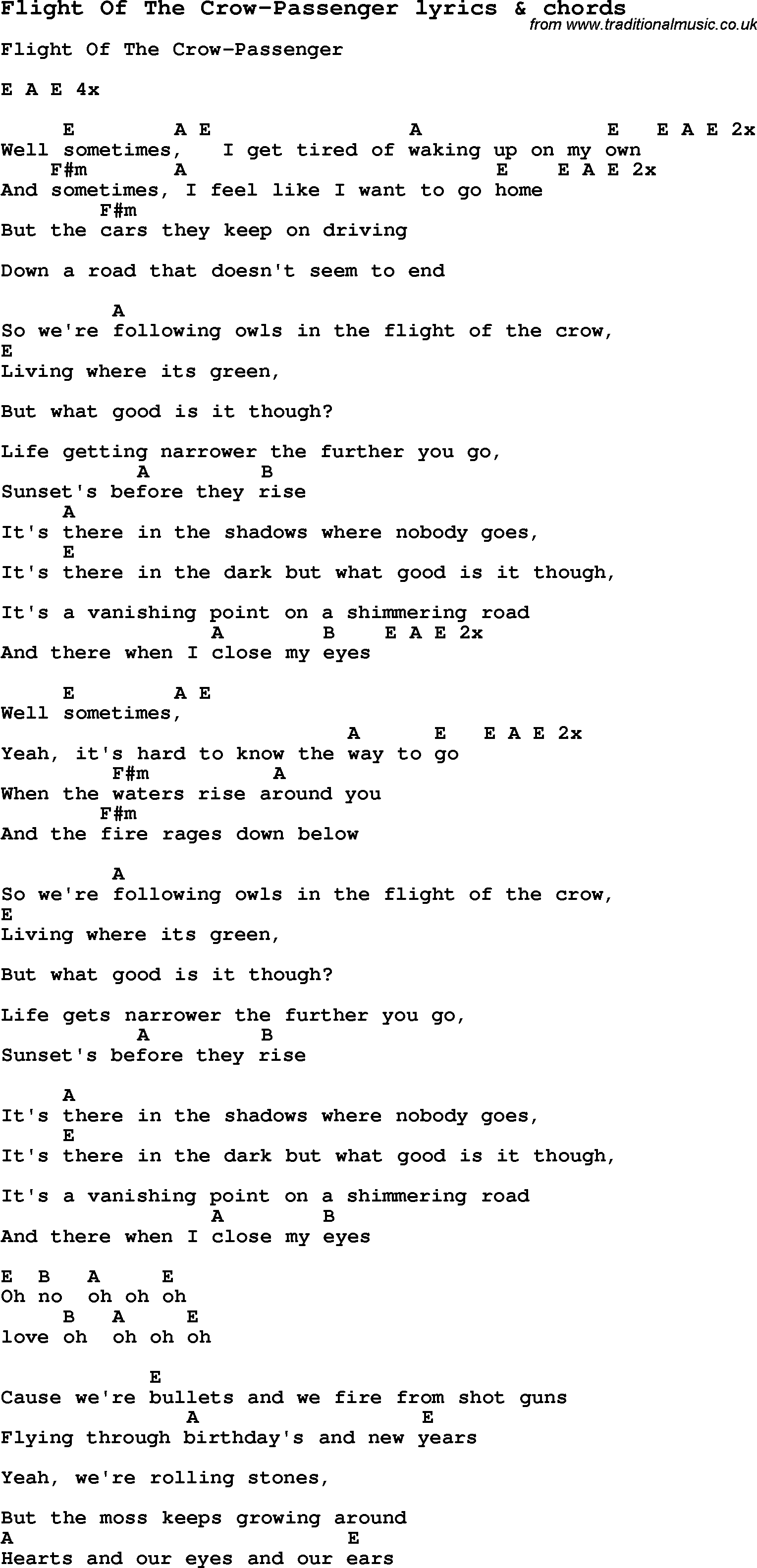 Love Song Lyrics Forflight Of The Crow Passenger With Chords