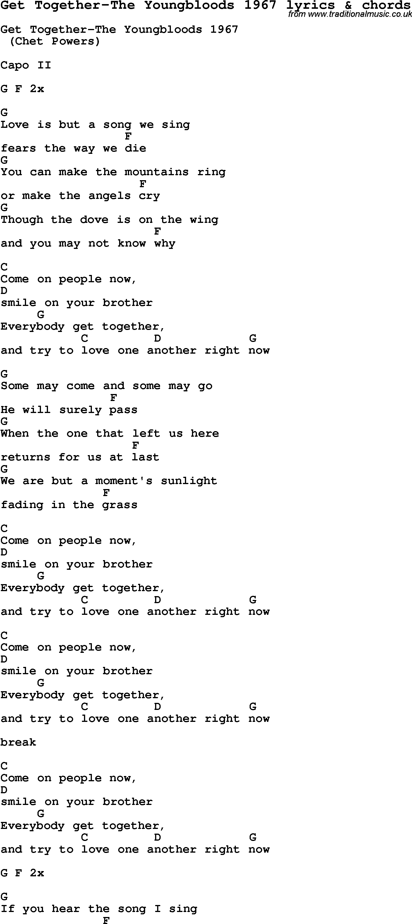 Happy together guitar chords