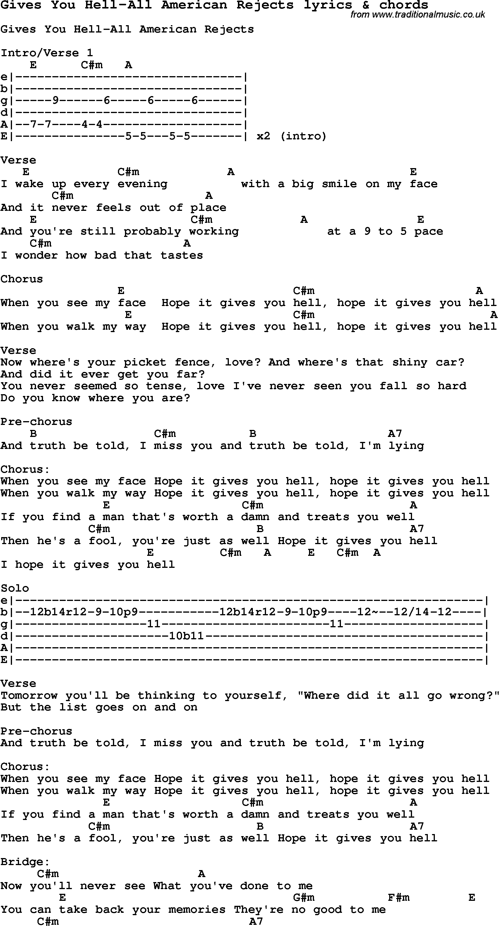 Gives You Hell Lyrics - All American Rejects - YouTube