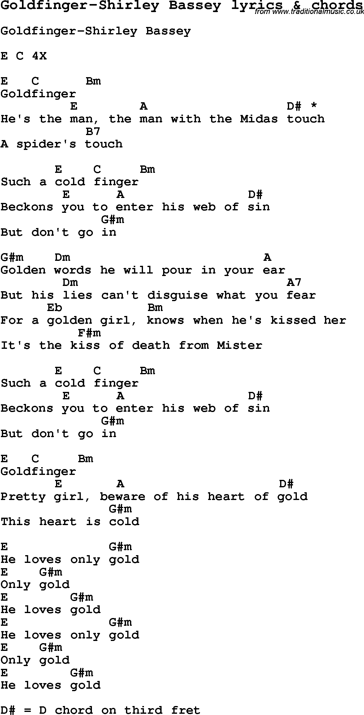 goldfinger lyrics shirley bassey: