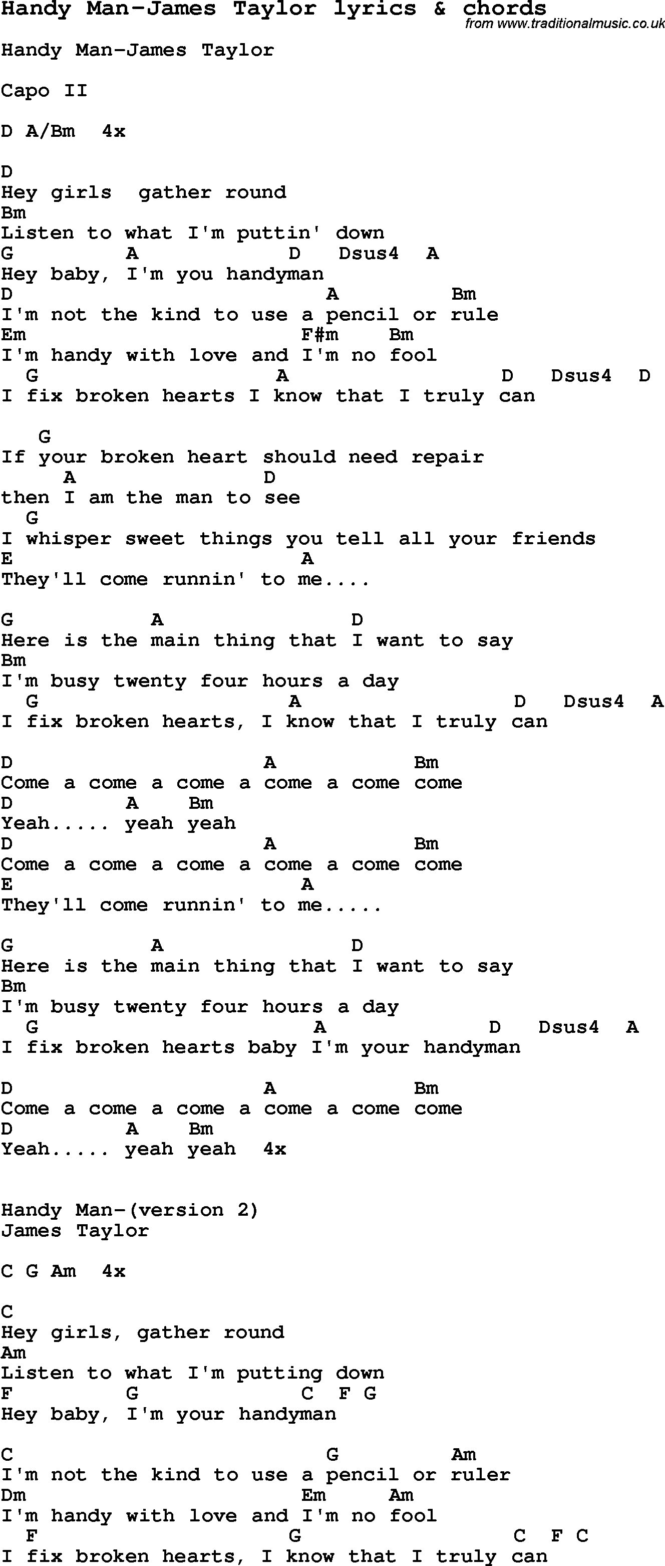 Love Song Lyrics for:Handy Man-James Taylor with chords