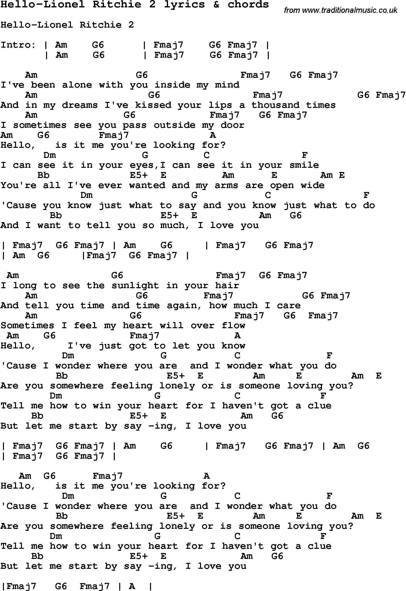 Love Song Lyrics Forhello Lionel Ritchie 2 With Chords