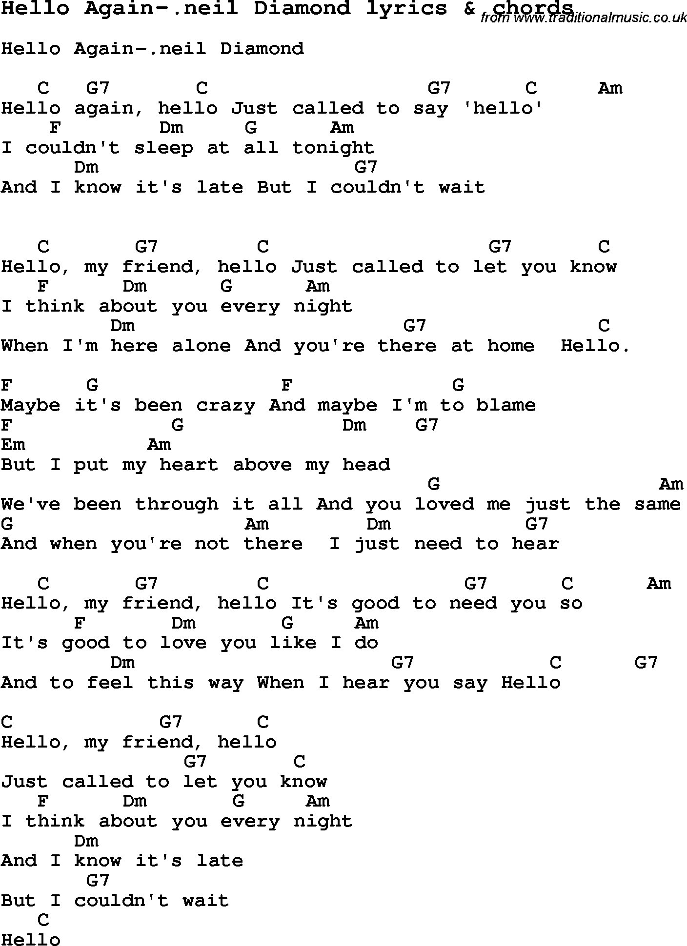 Love Song Lyrics Forhello Again Il Diamond With Chords