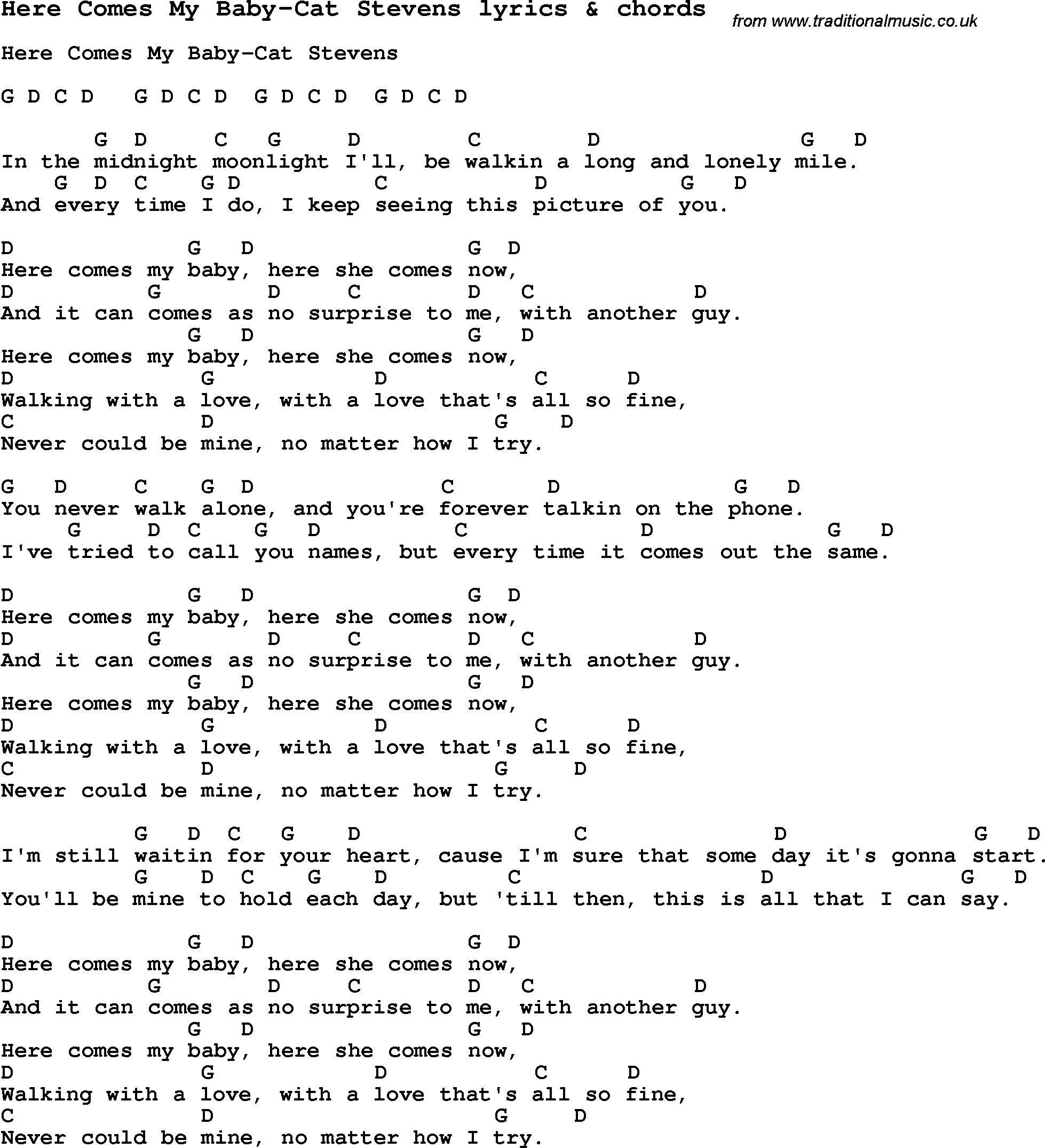 Love Song Lyrics Forhere Comes My Baby Cat Stevens With Chords