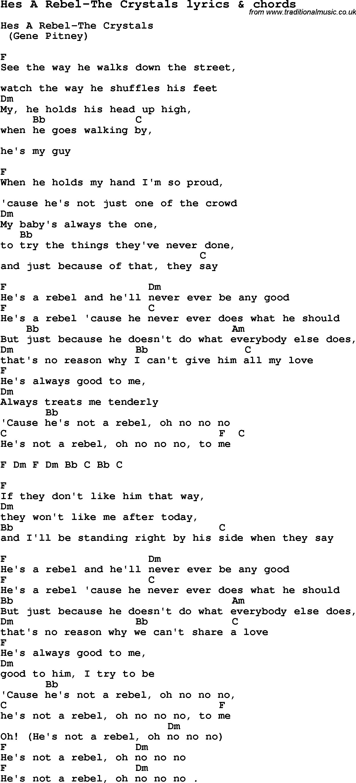 Love Song Lyrics forHes A Rebel The Crystals with chords.