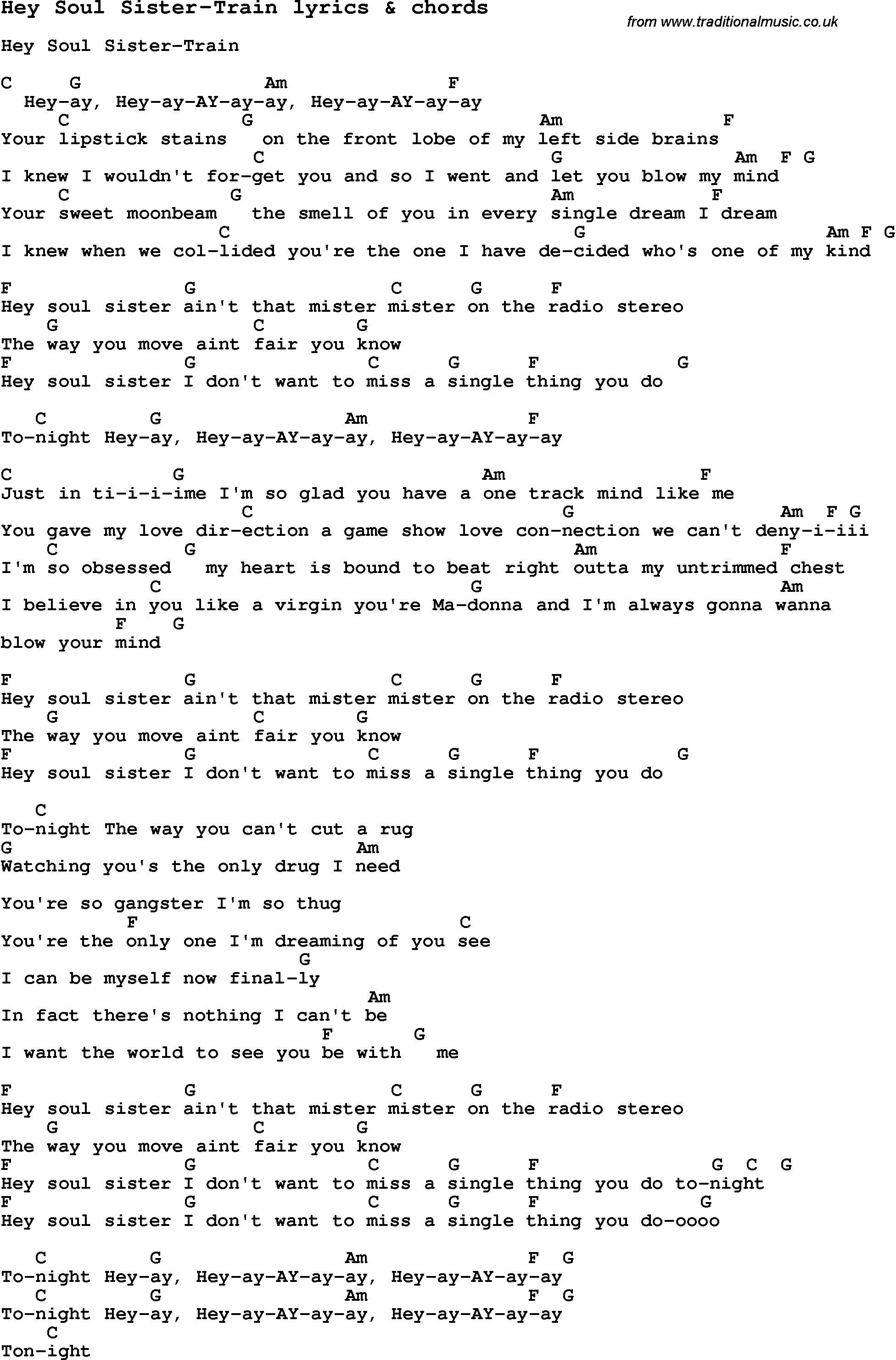 Love song lyrics forhey soul sister train with chords love song lyrics for hey soul sister train with chords for ukulele guitar hexwebz Images