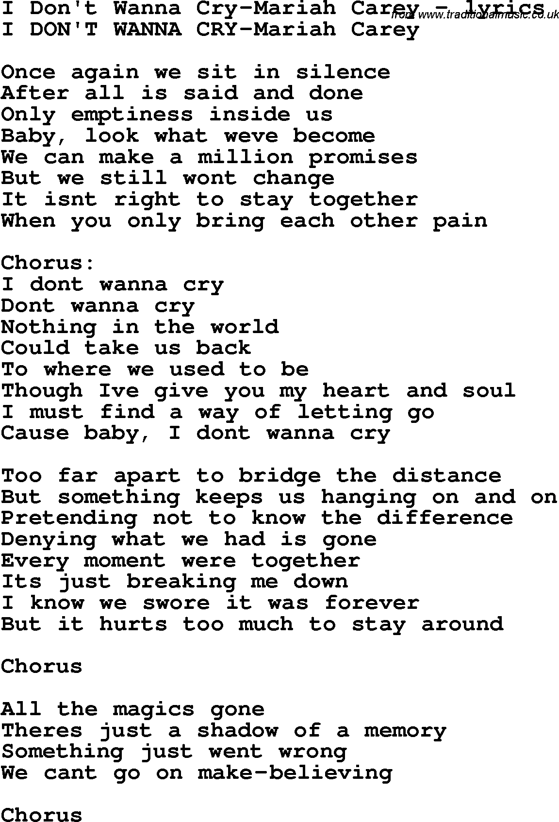 Lyrics of lovers cry song