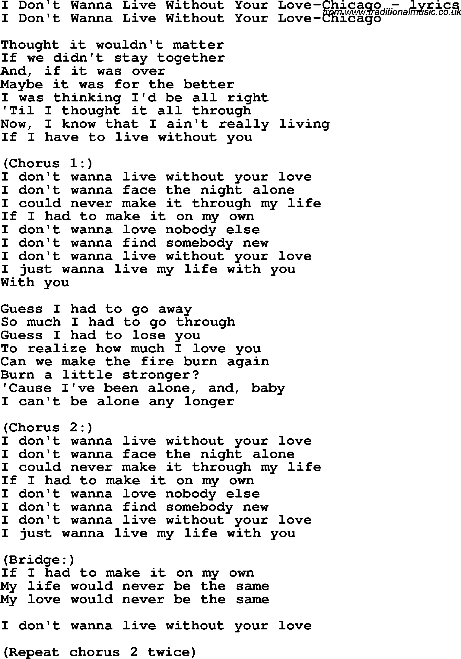 And i just can t live without you lyrics