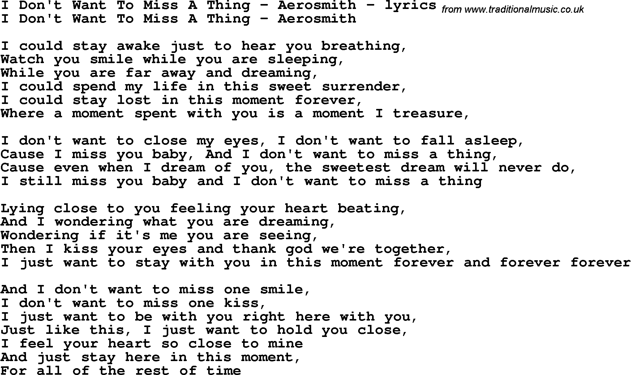 Lyrics to a song about missing someone