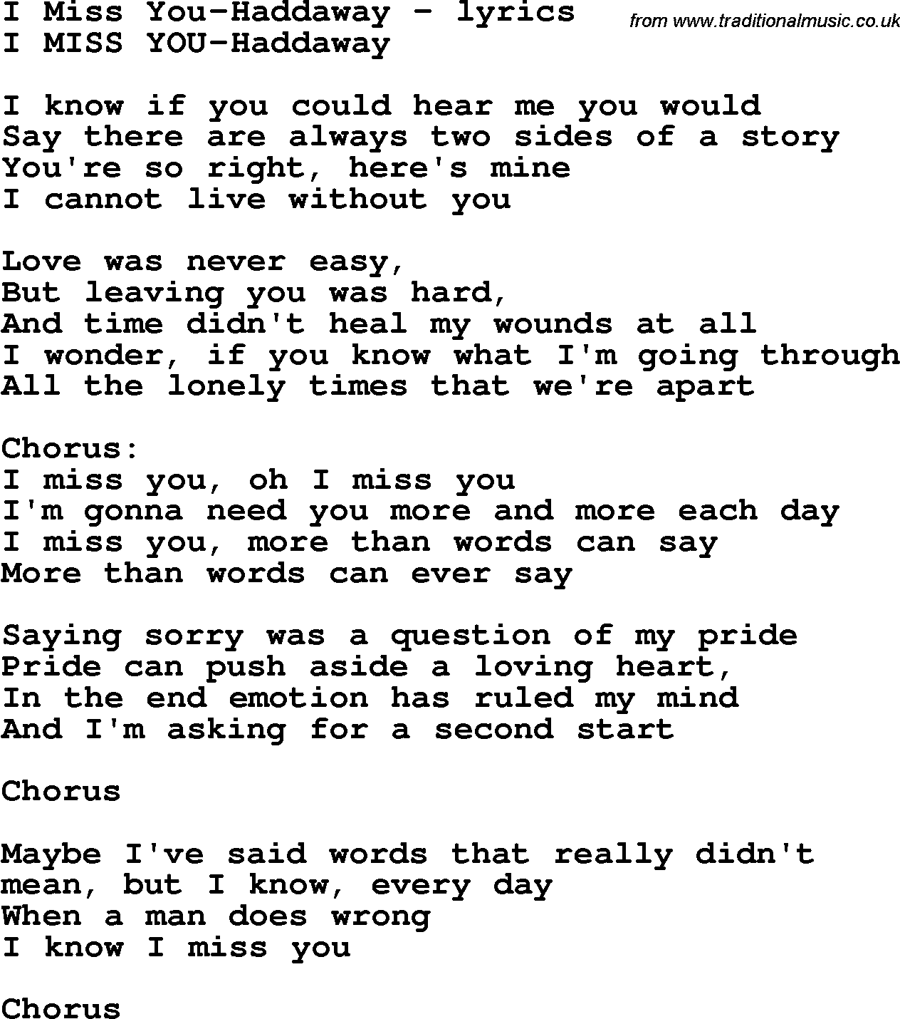 Love Song Lyrics For: I Miss You Haddaway