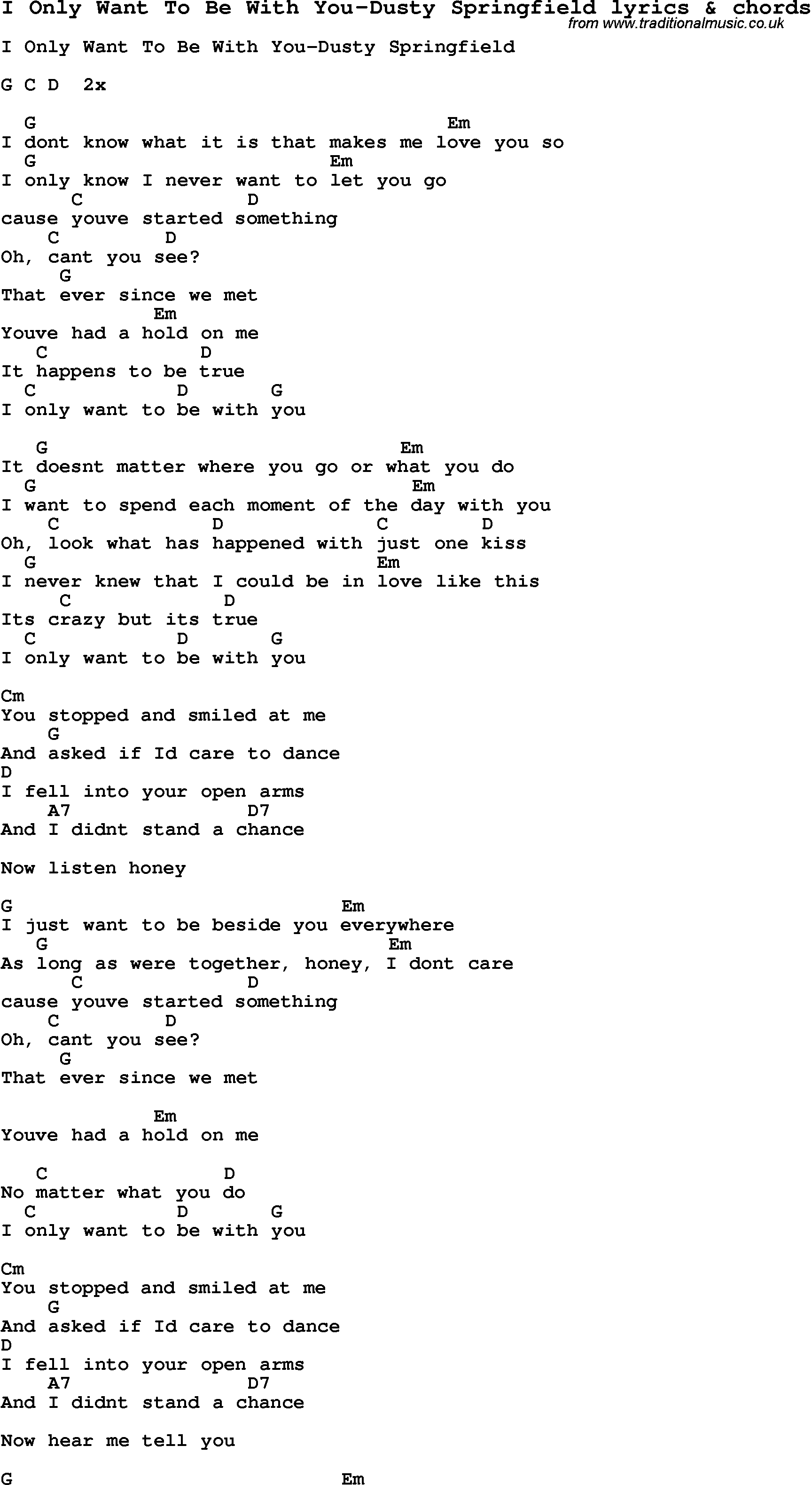 i only want to be with you lyrics