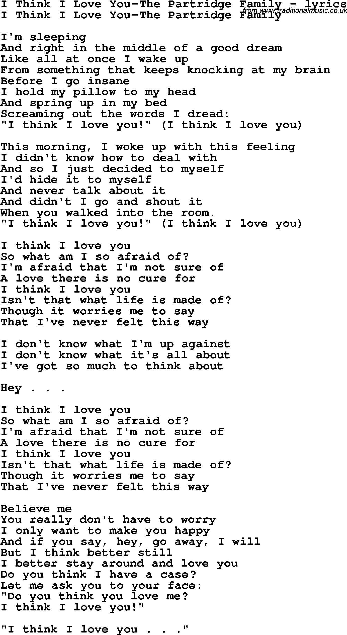 M Lyrics Love You With I I Think In