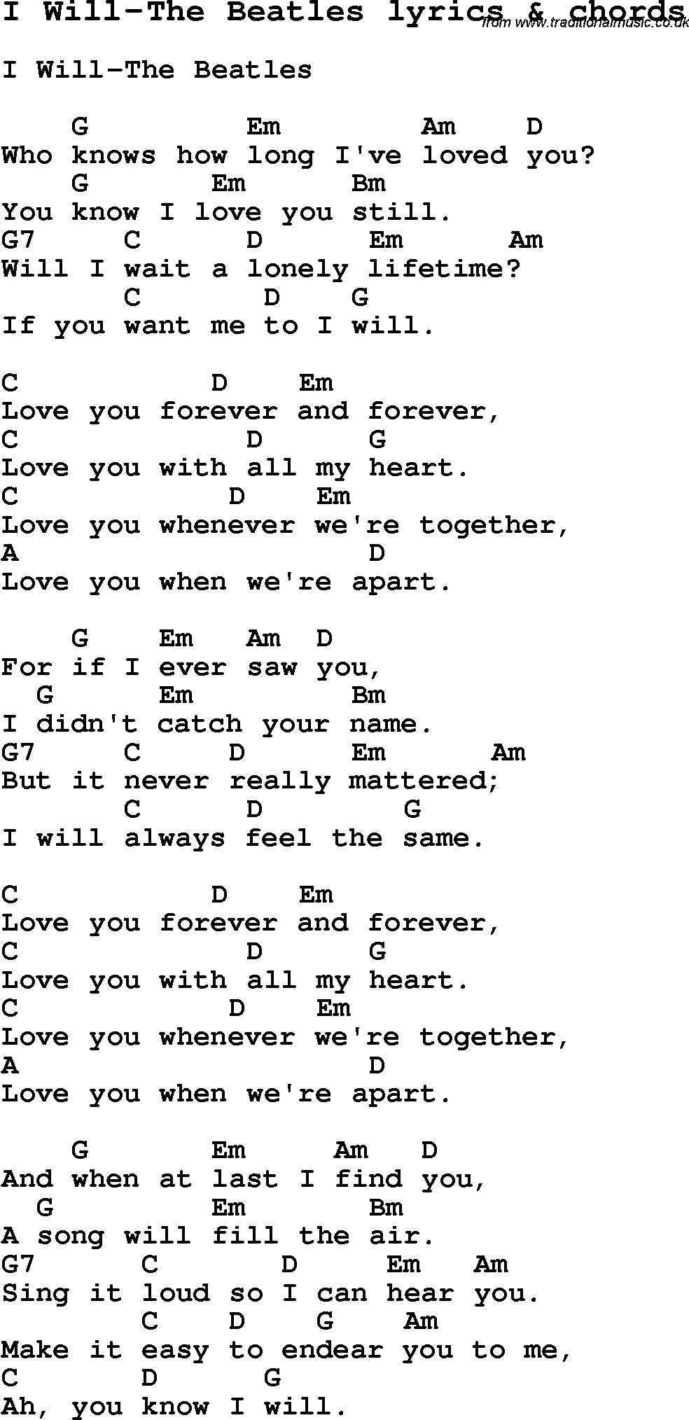 Love Song Lyrics for:I Will-The Beatles with chords.