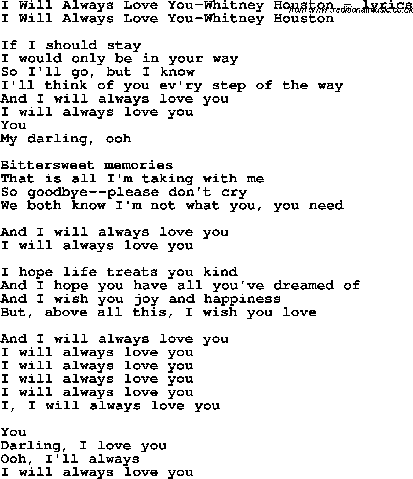 Will Always Love You Lyrics