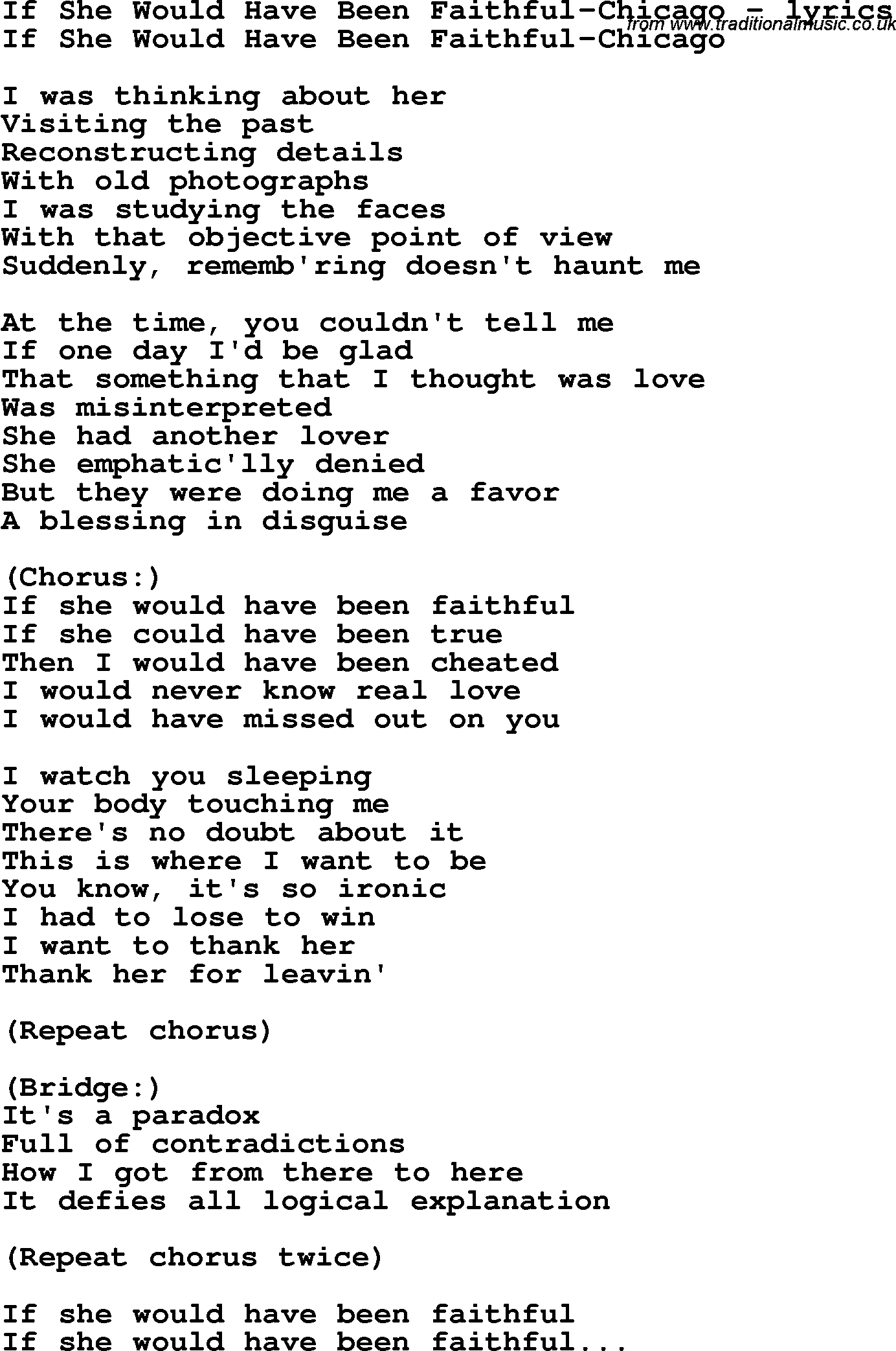 Faithful love song lyrics