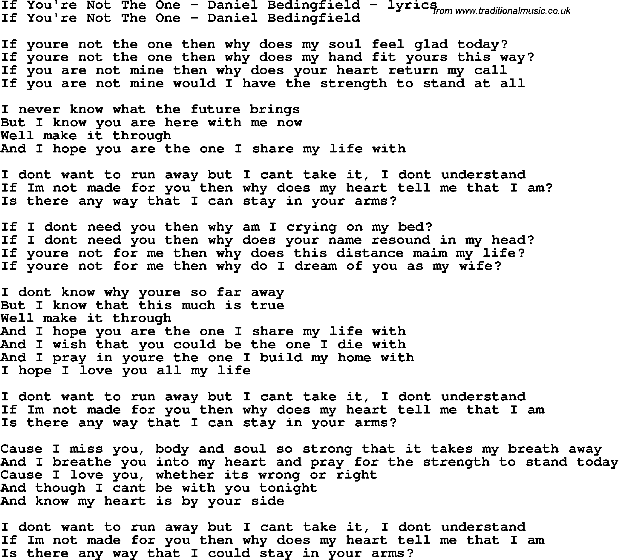 Love Song Lyrics for:If You're Not The One - Daniel ...