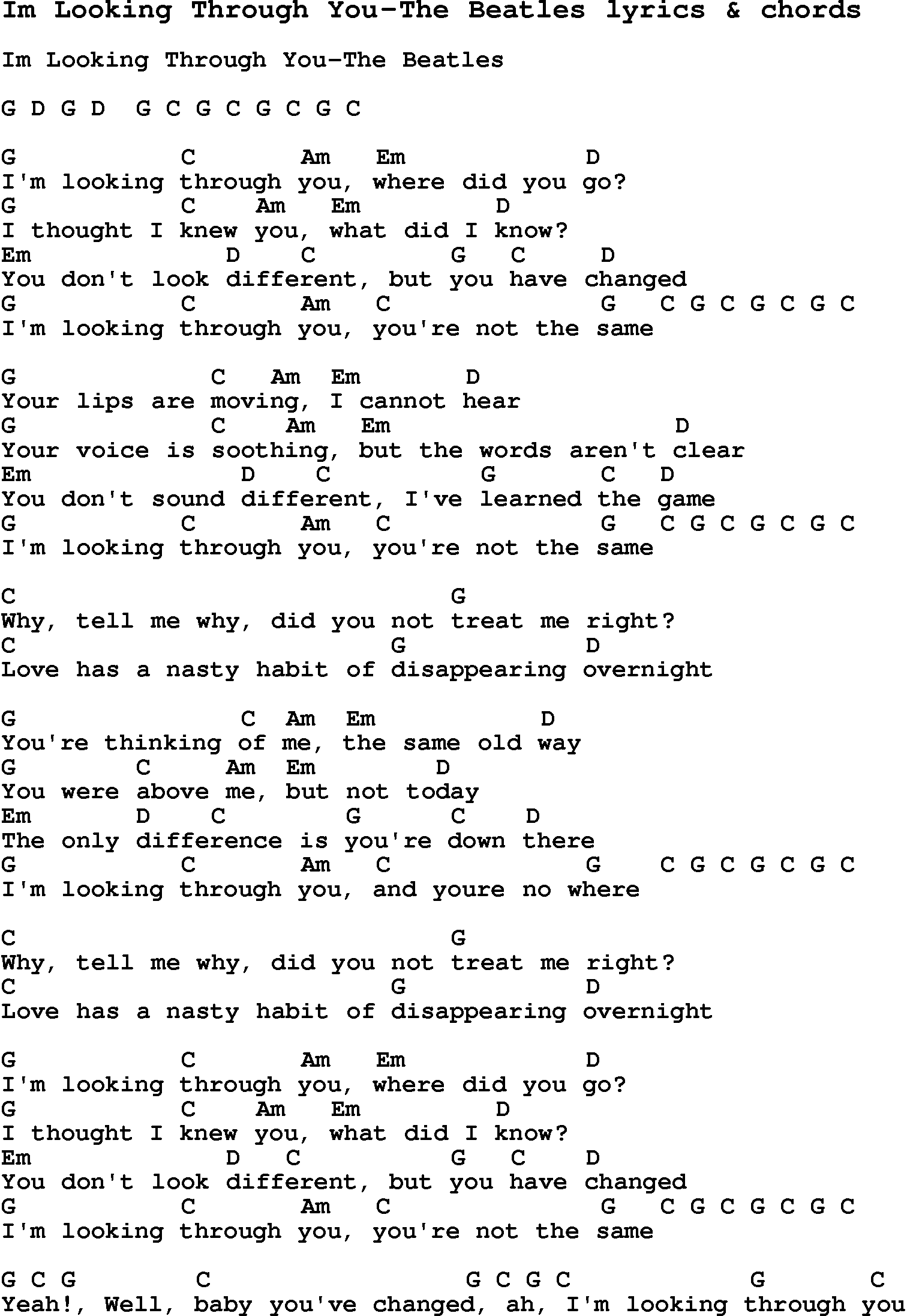 Love Song Lyrics Forim Looking Through You The Beatles With Chords