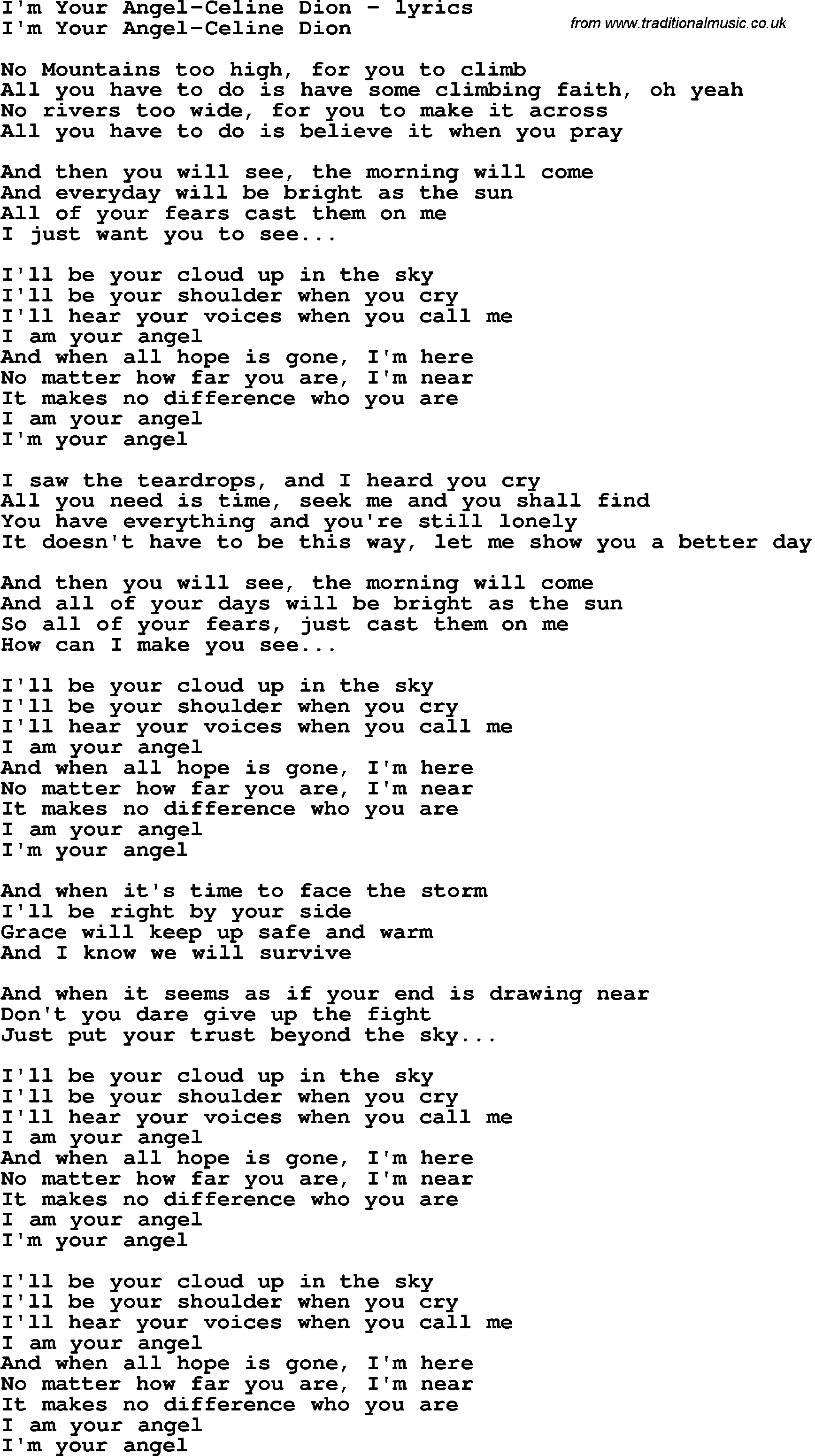 Céline Dion - I Am Your Angel Lyrics | MetroLyrics