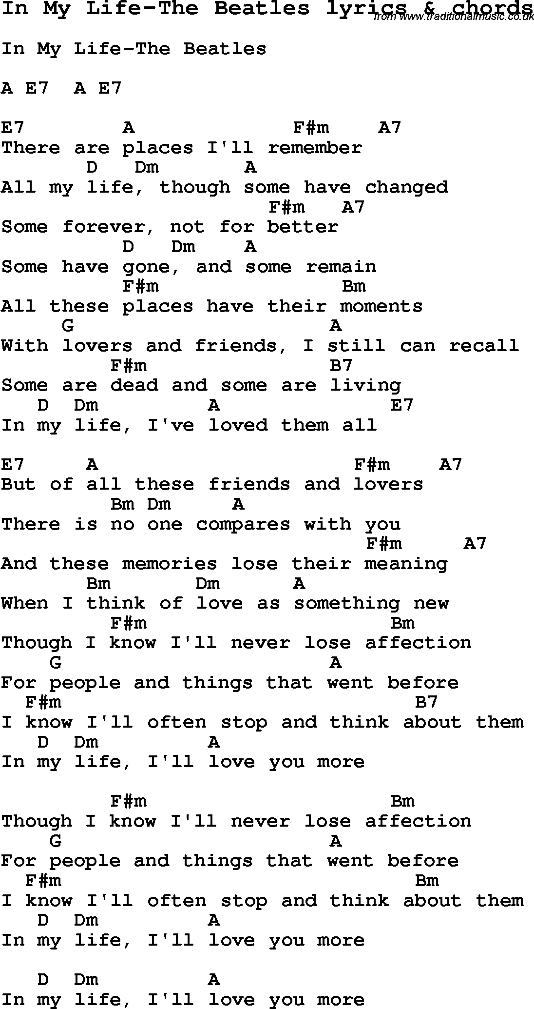 Love song lyrics forin my life the beatles with chords love song lyrics for in my life the beatles with chords for ukulele hexwebz Images
