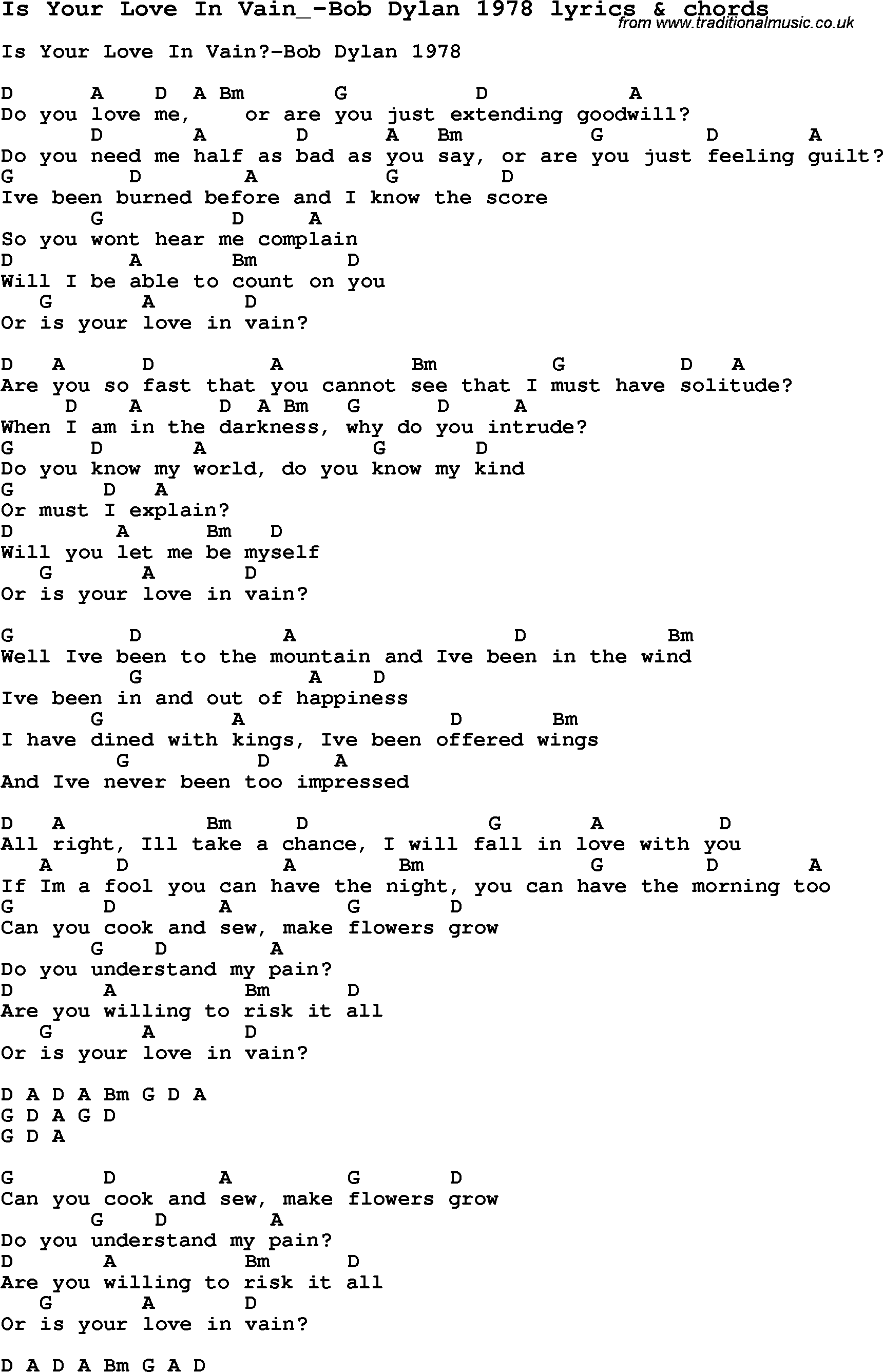Bob Dylan – Is Your Love In Vain? Lyrics | Genius Lyrics