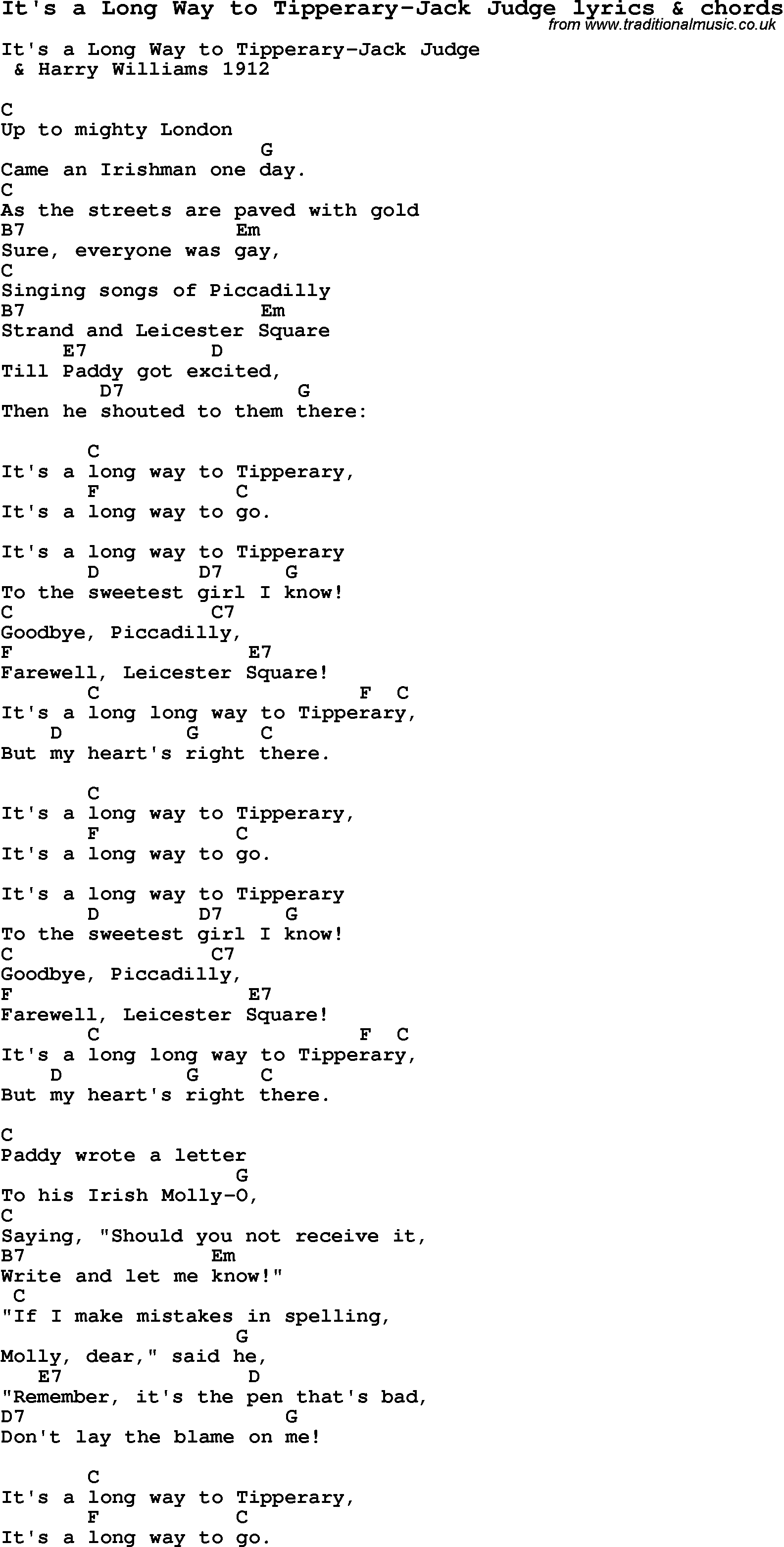 Love Song Lyrics for:Itu0026#39;s a Long Way to Tipperary-Jack Judge with chords.