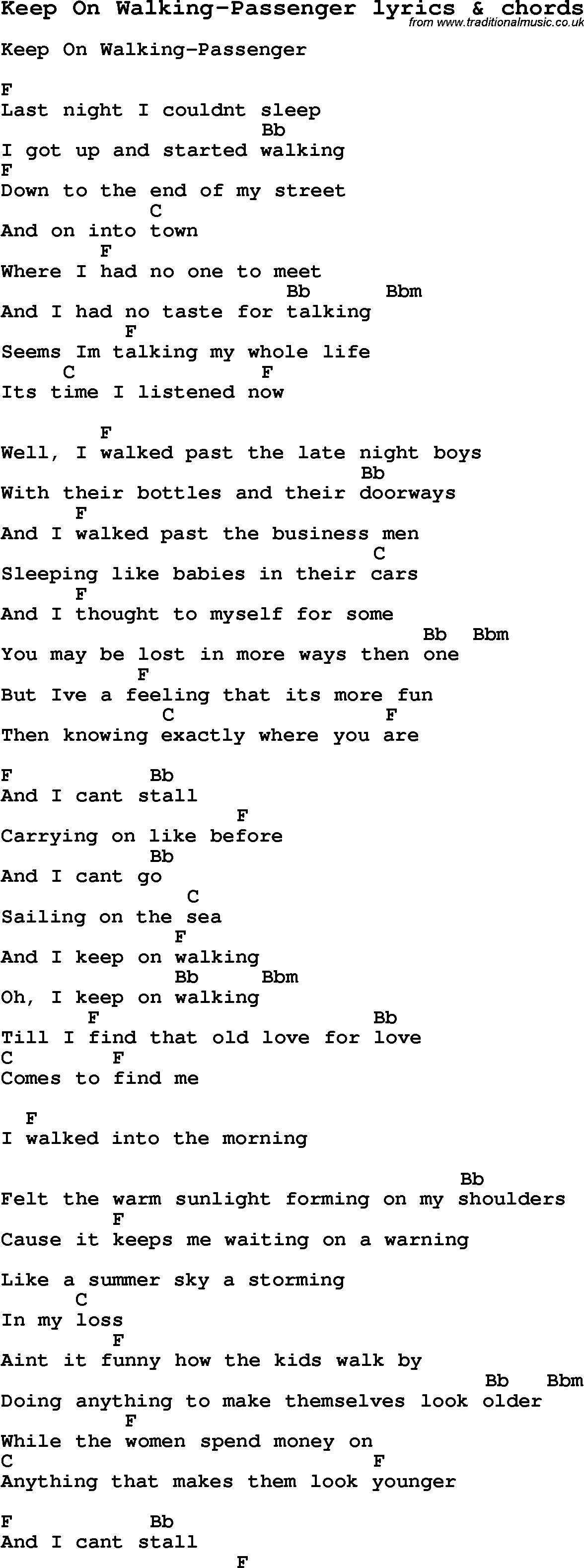 Love Song Lyrics Forkeep On Walking Passenger With Chords