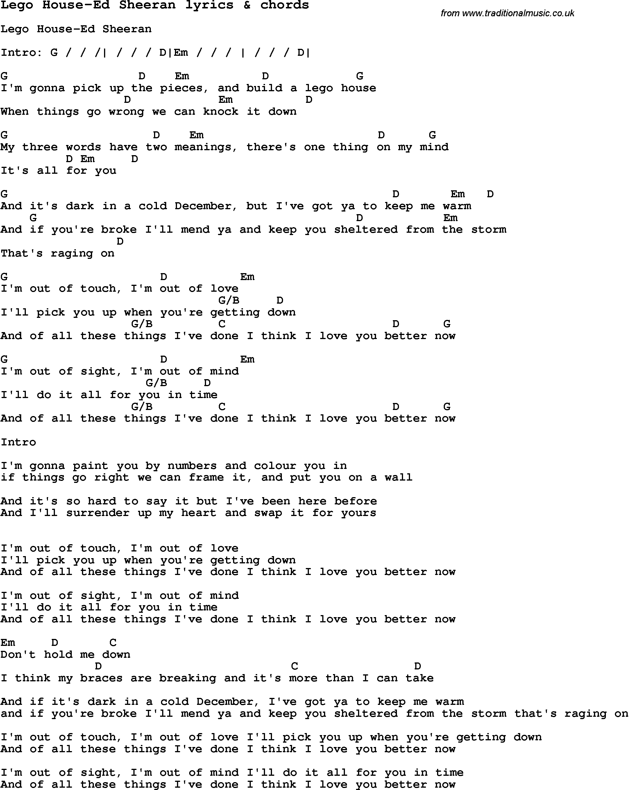 Love song lyrics for lego house ed sheeran with chords for Classic house chords