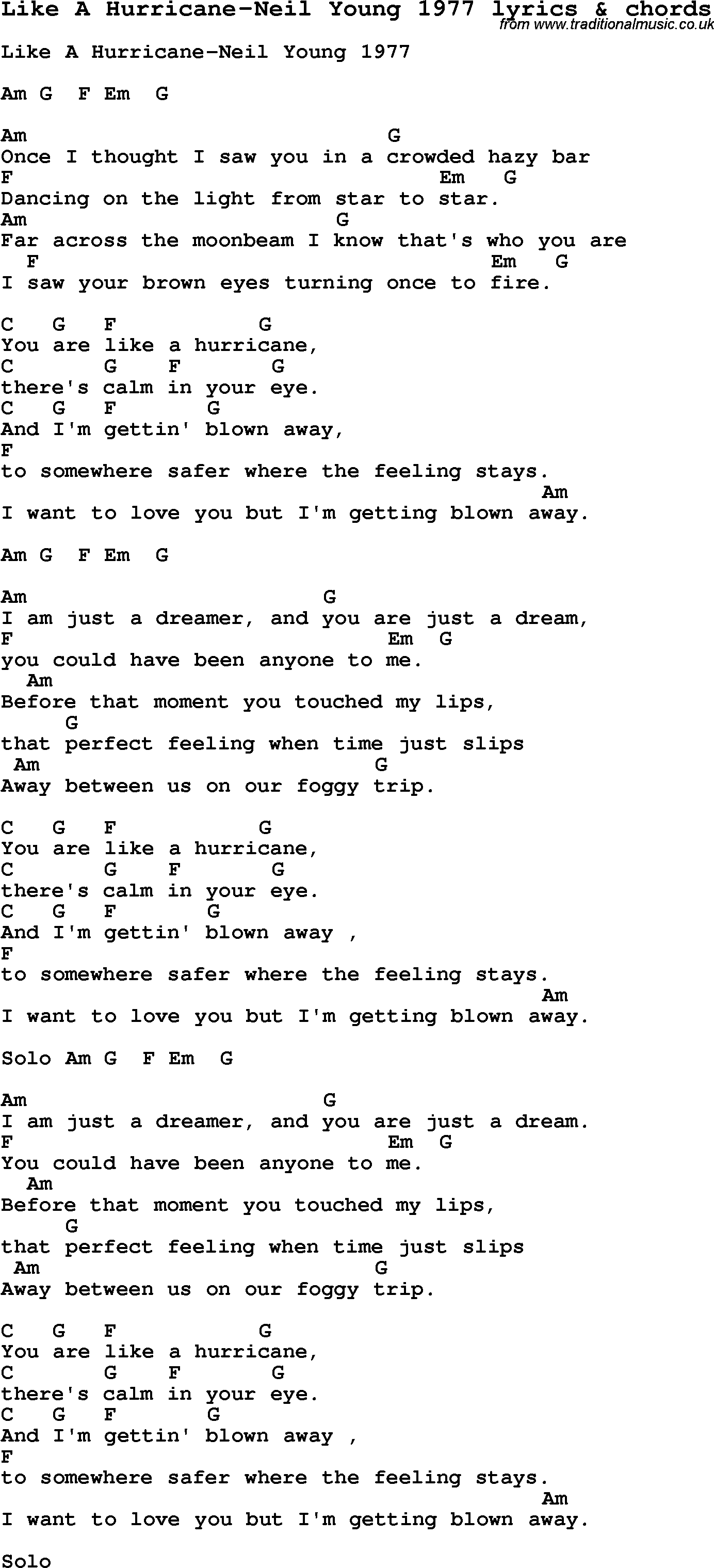 Love Song Lyrics for:Like A Hurricane-Neil Young 1977 with chords.