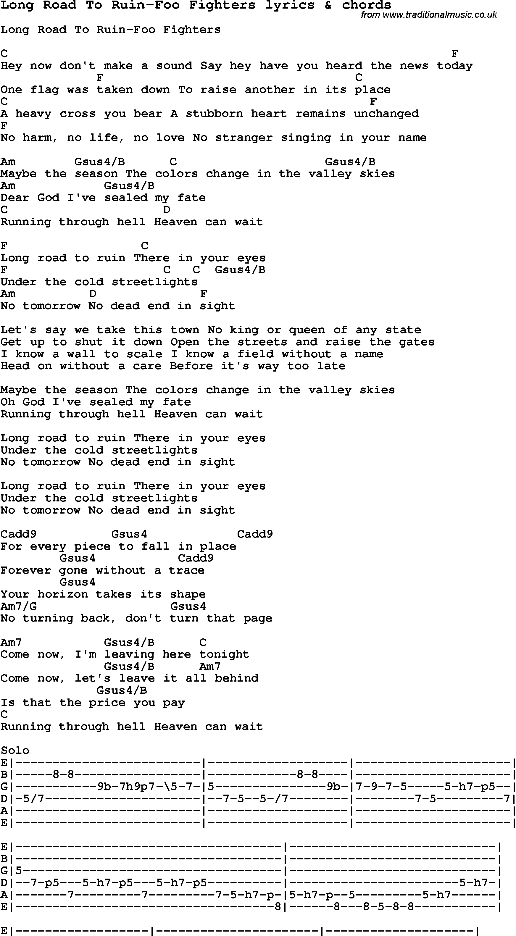 Love Song Lyrics Forlong Road To Ruin Foo Fighters With Chords