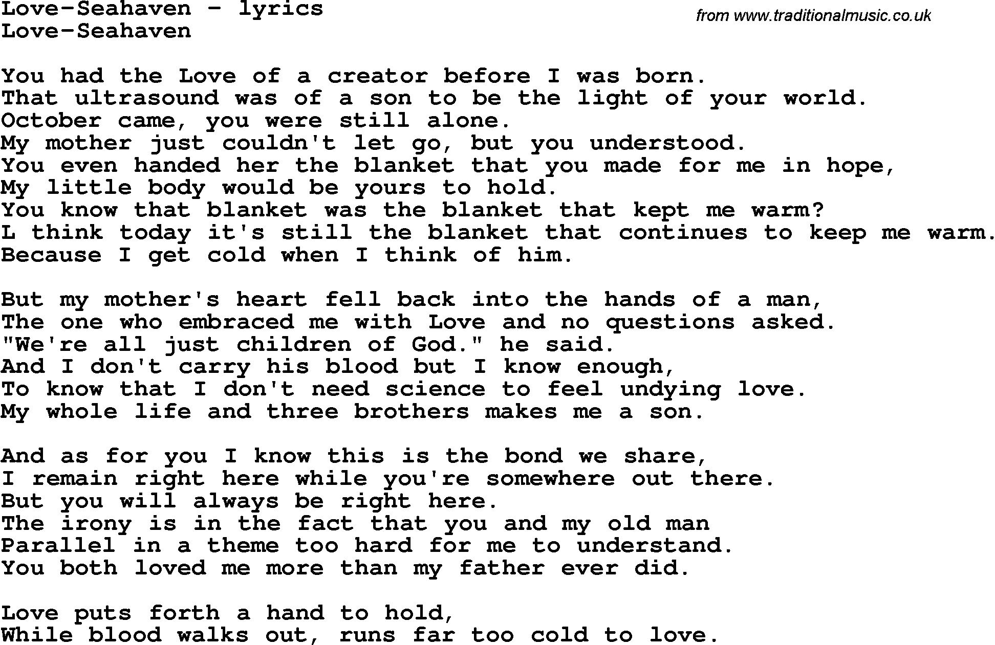 Love Song Lyrics for:Love-Seahaven