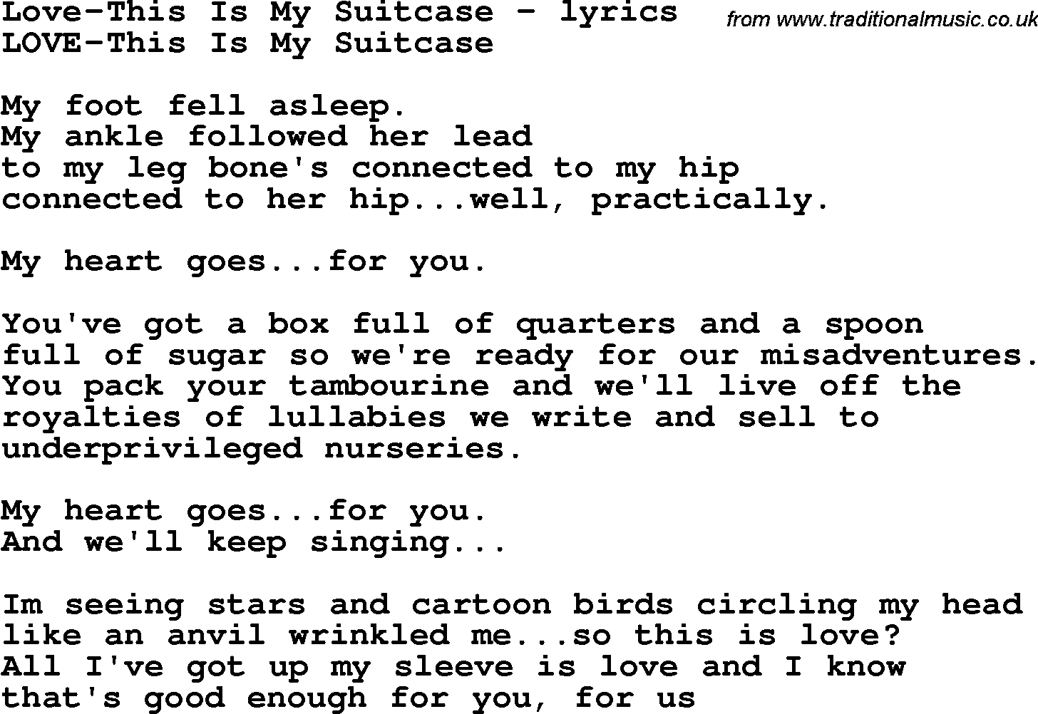 Love Song Lyrics for:Love-This Is My Suitcase
