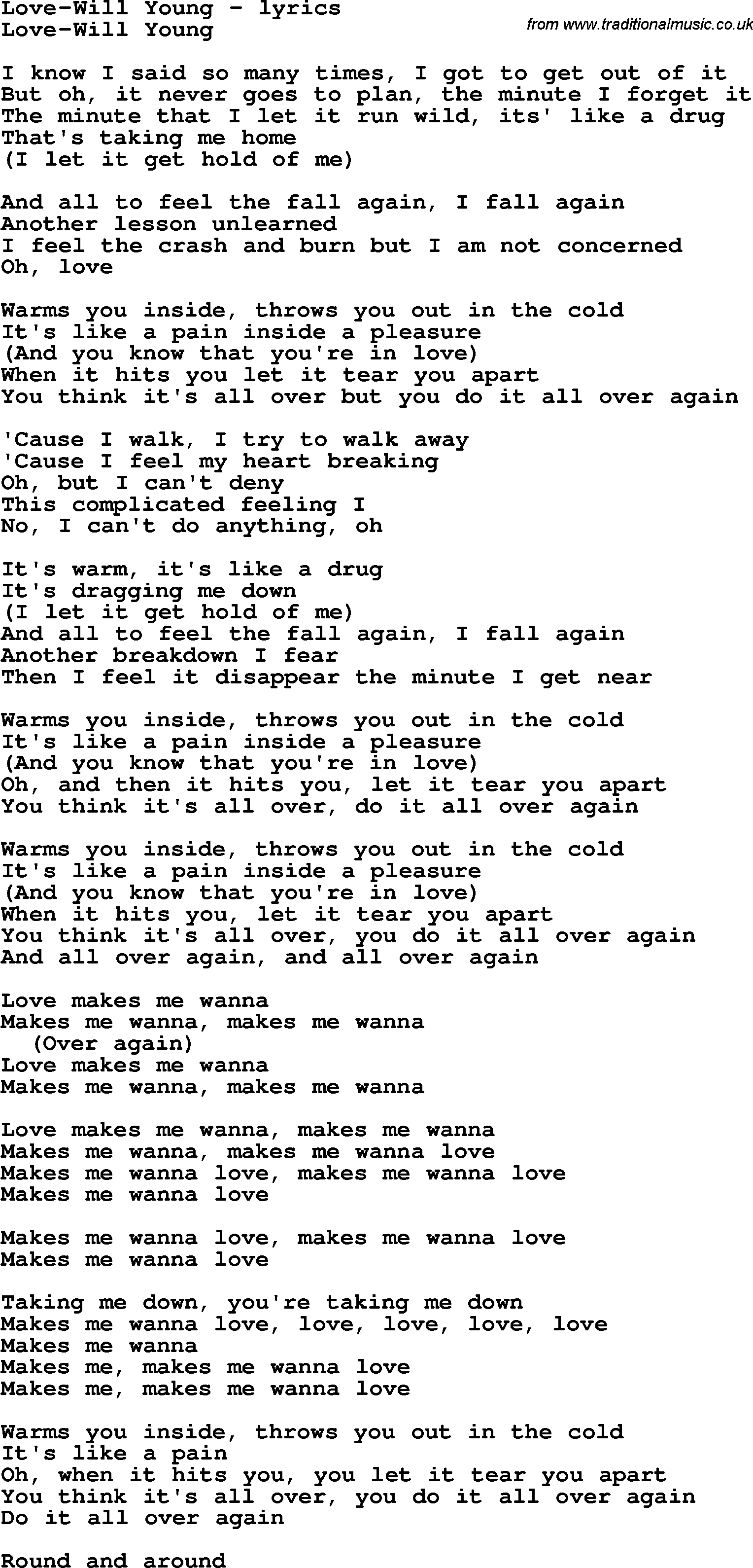 a song for young love lyrics