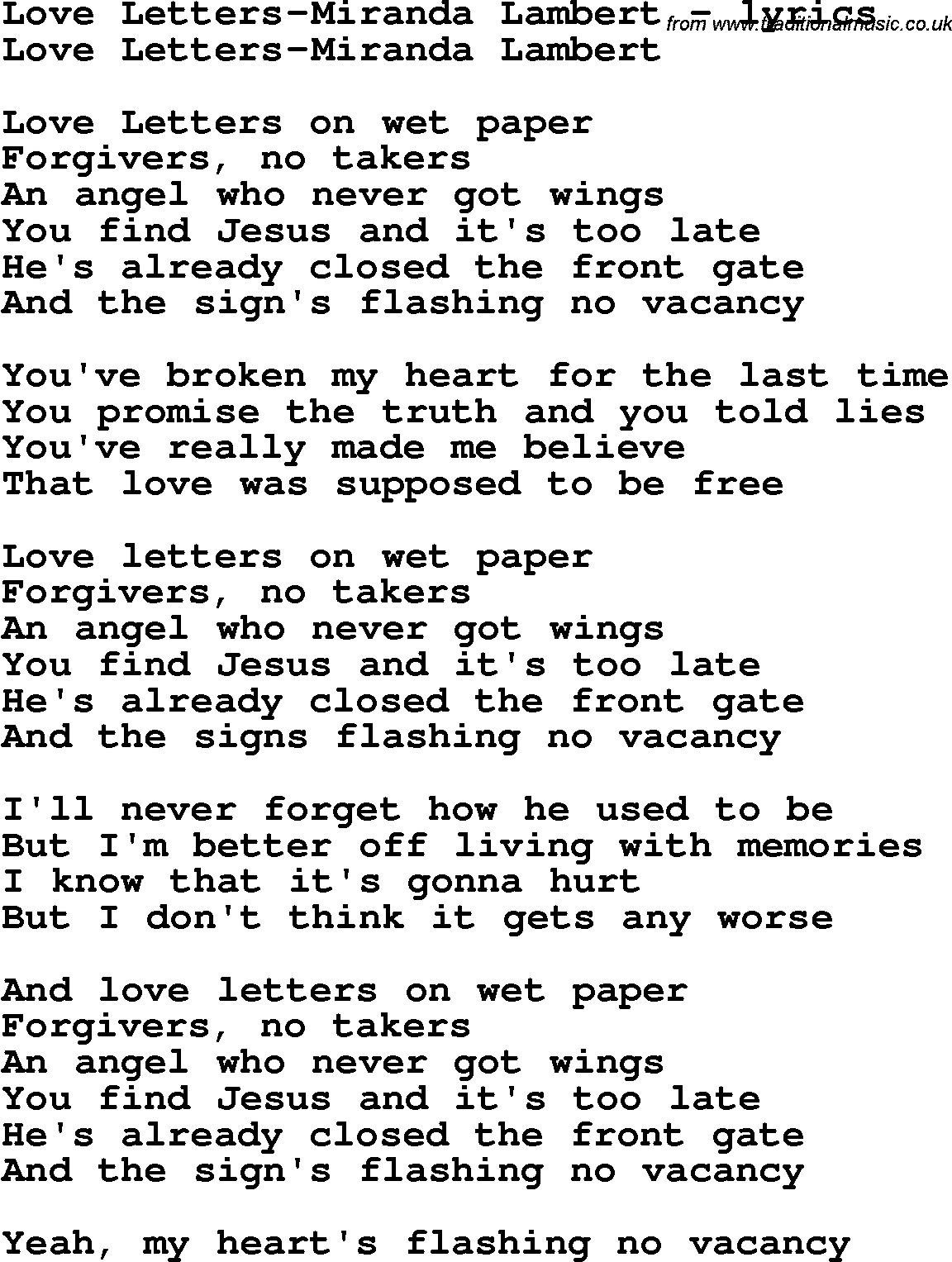 Love Song Lyrics ForLove Letters Miranda Lambert