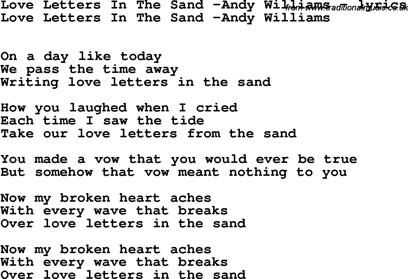 Love Song Lyrics ForLove Letters In The Sand Andy Williams