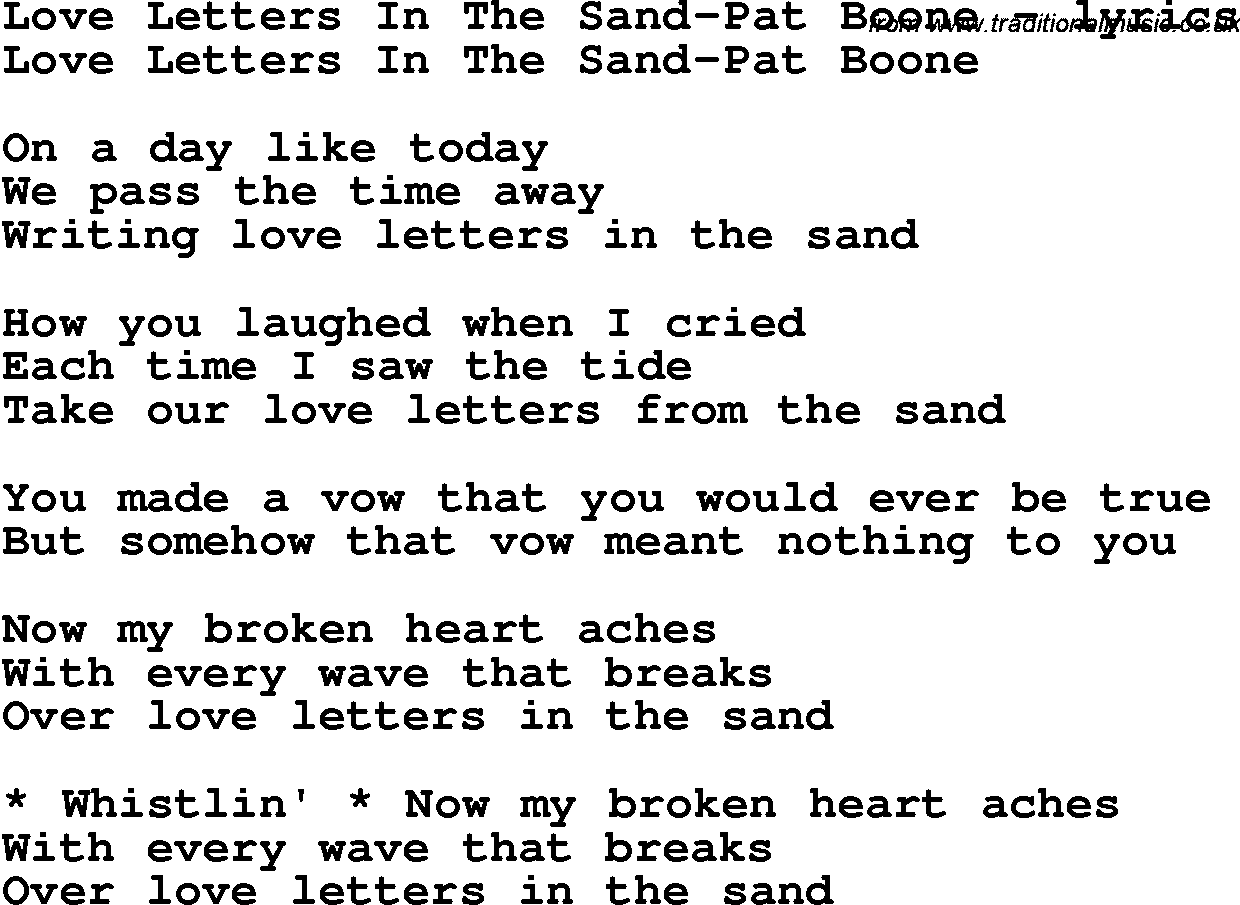 Love song lyrics forlove letters in the sand pat boone love song lyrics for love letters in the sand pat boone spiritdancerdesigns Images