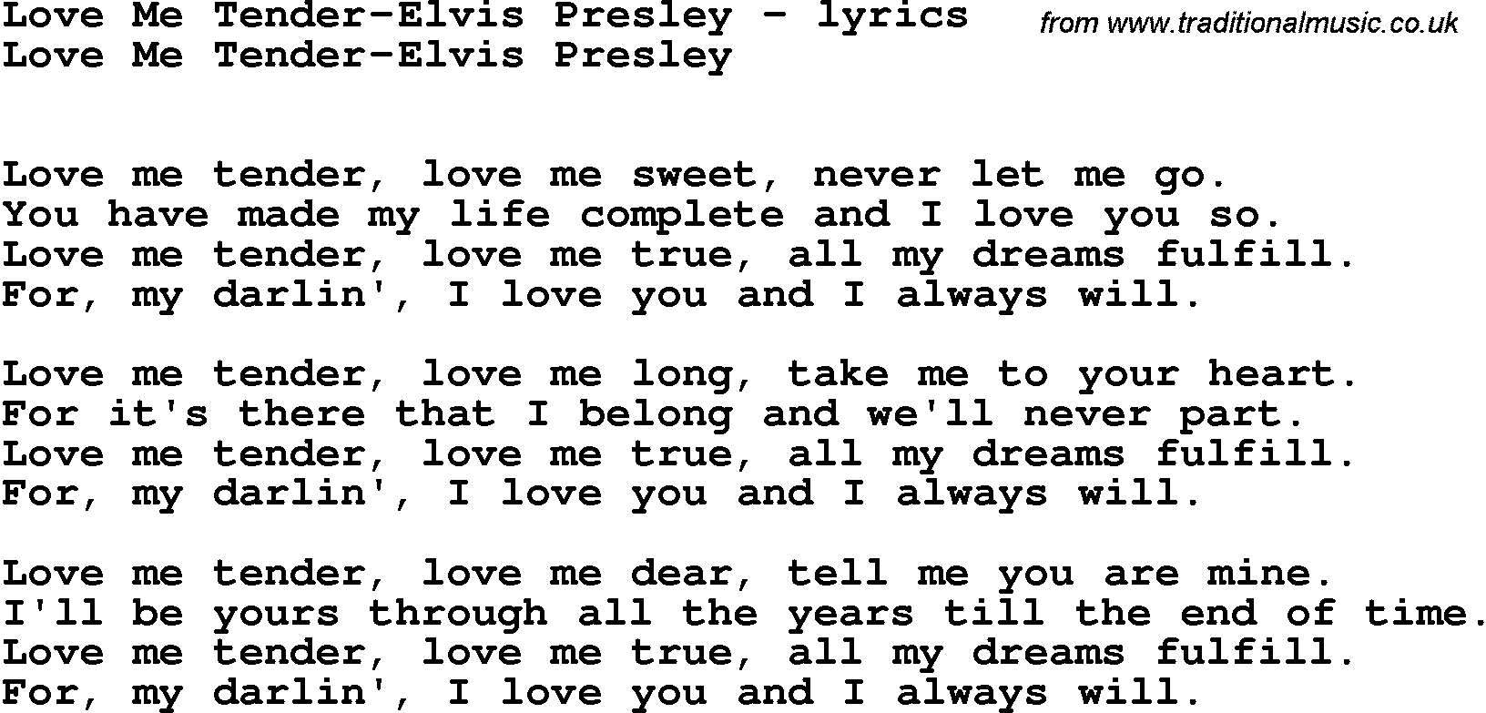 love song lyrics for love me tender elvis presley. Black Bedroom Furniture Sets. Home Design Ideas