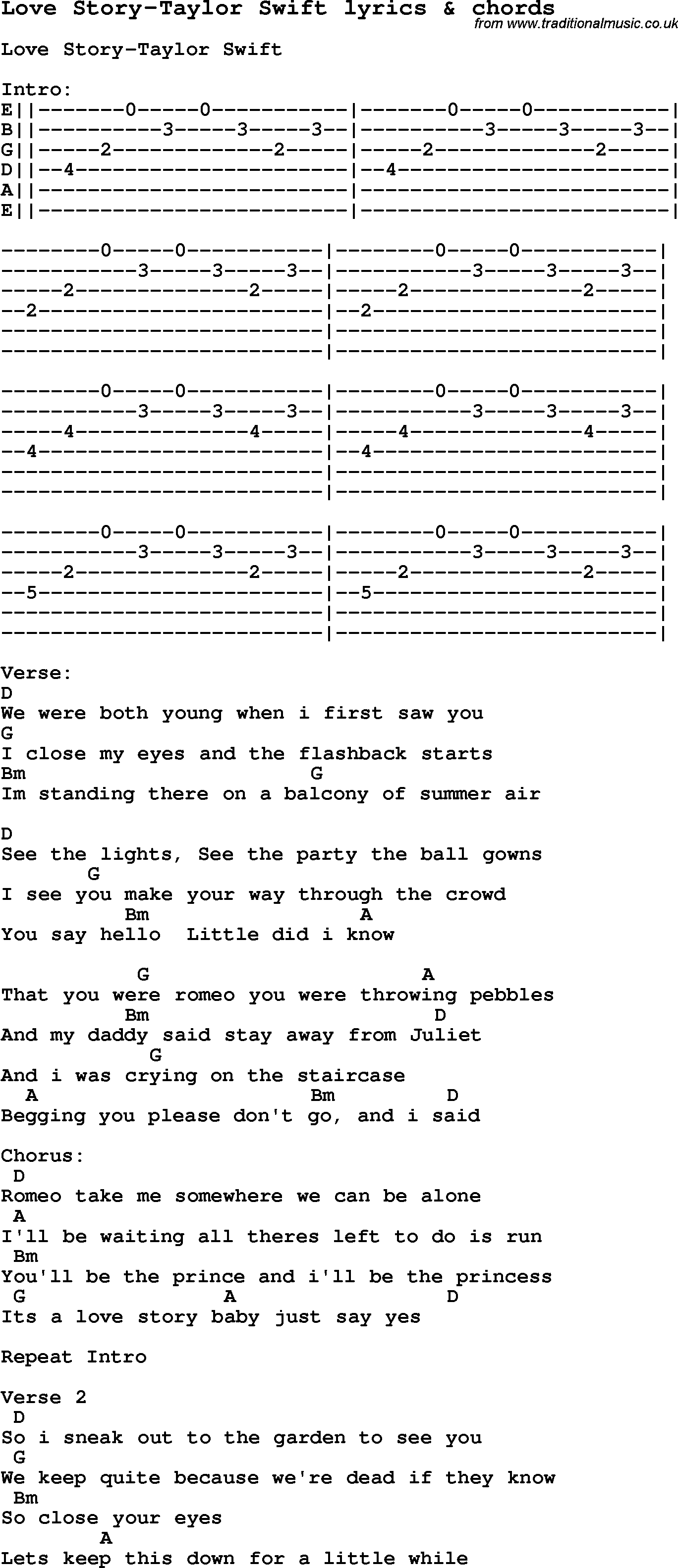 Love Song Lyrics Forlove Story Taylor Swift With Chords