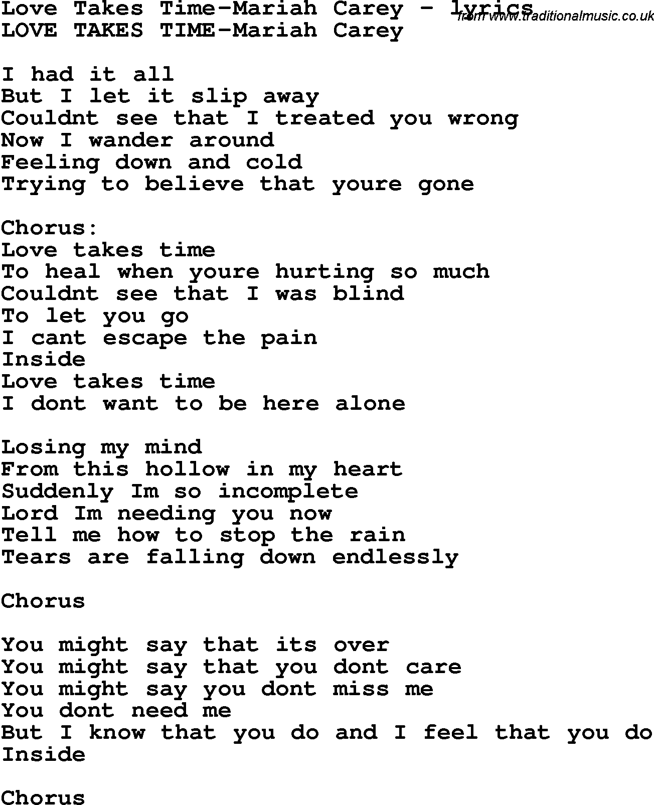 Love story mariah lyrics
